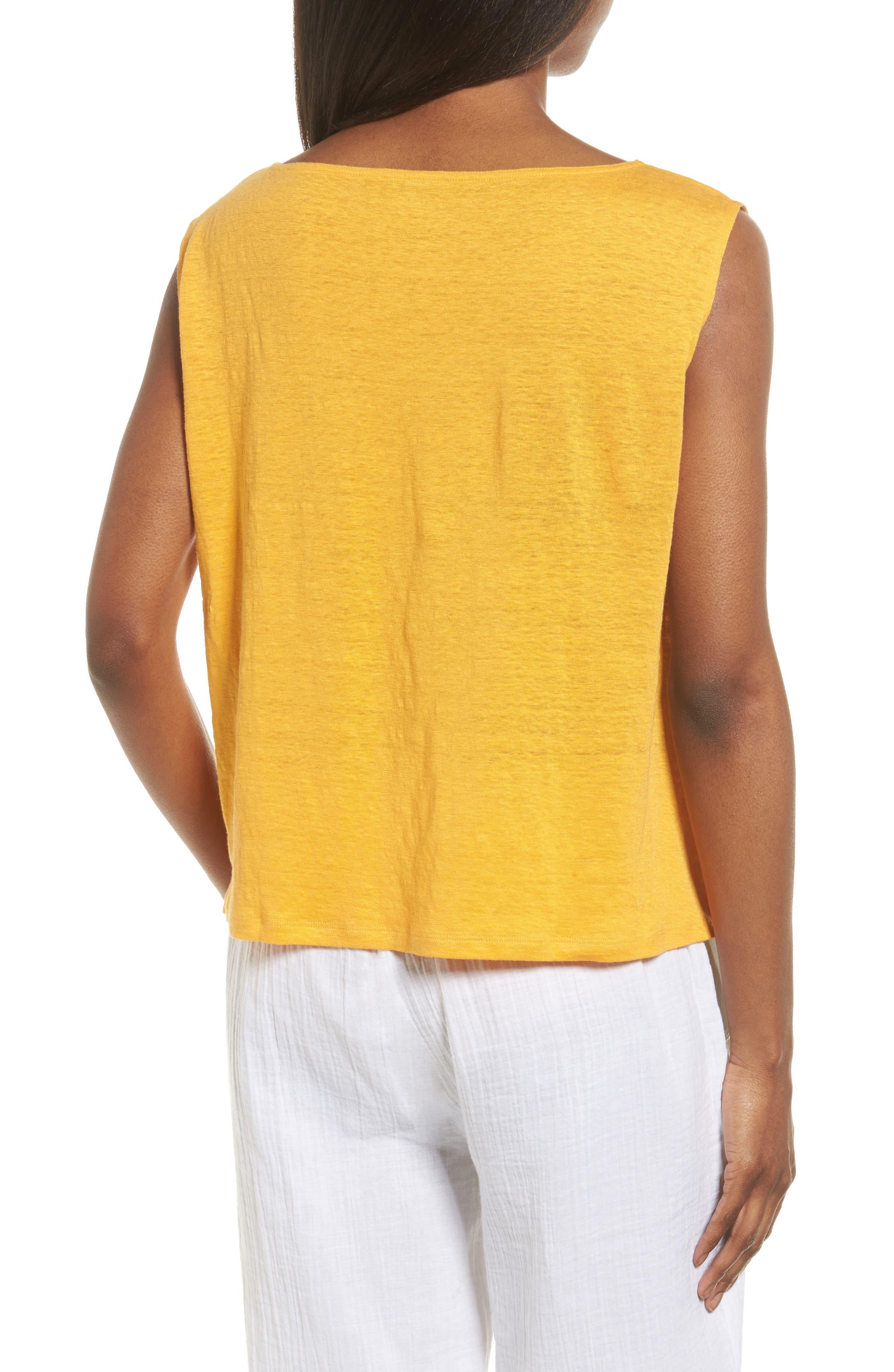 Organic Linen Top,                             Alternate thumbnail 2, color,                             Orangeade
