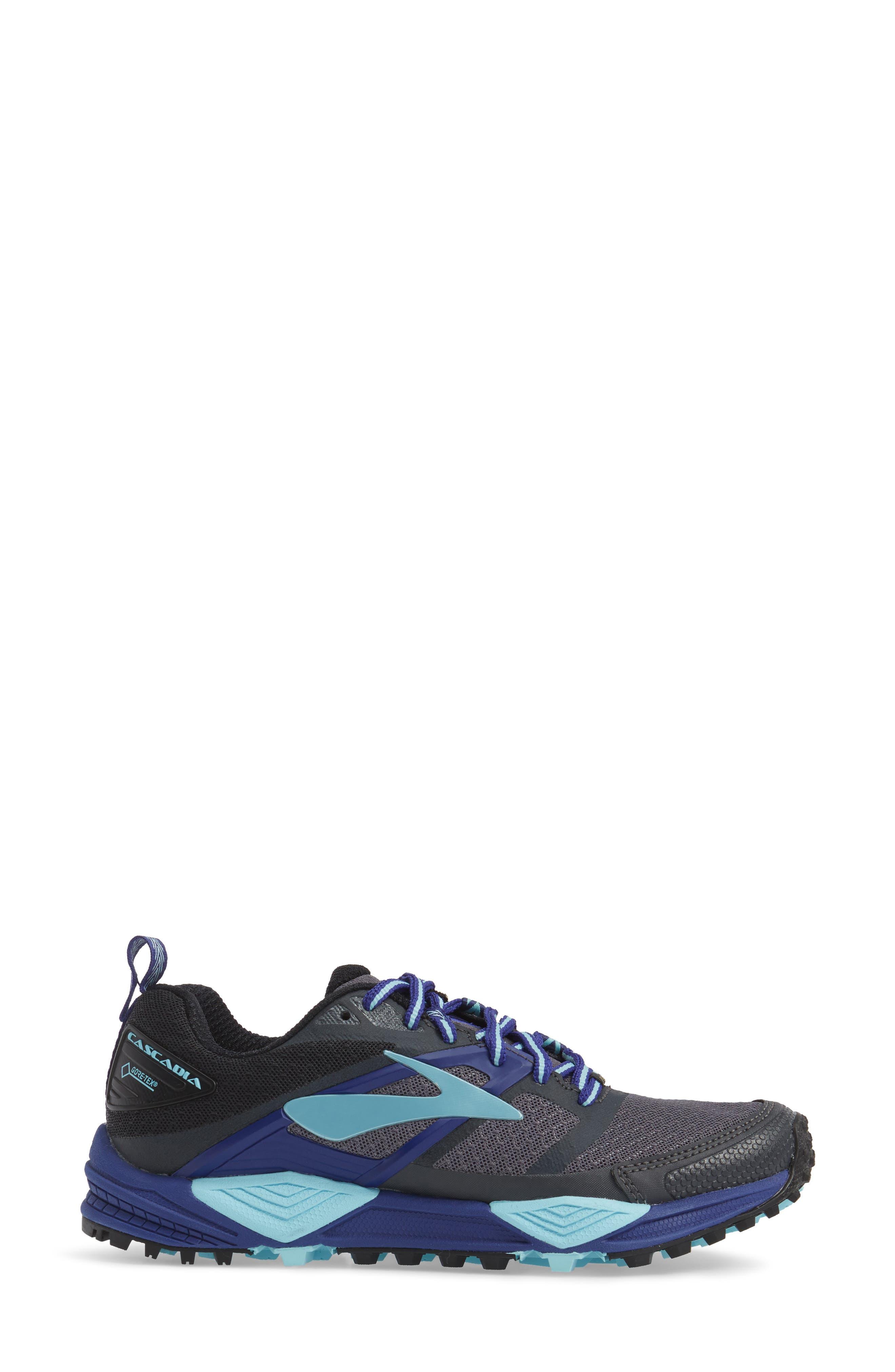 Cascadia 12 GTX Trail Running Shoe,                             Alternate thumbnail 3, color,                             Black/ Ebony/ Clematis Blue