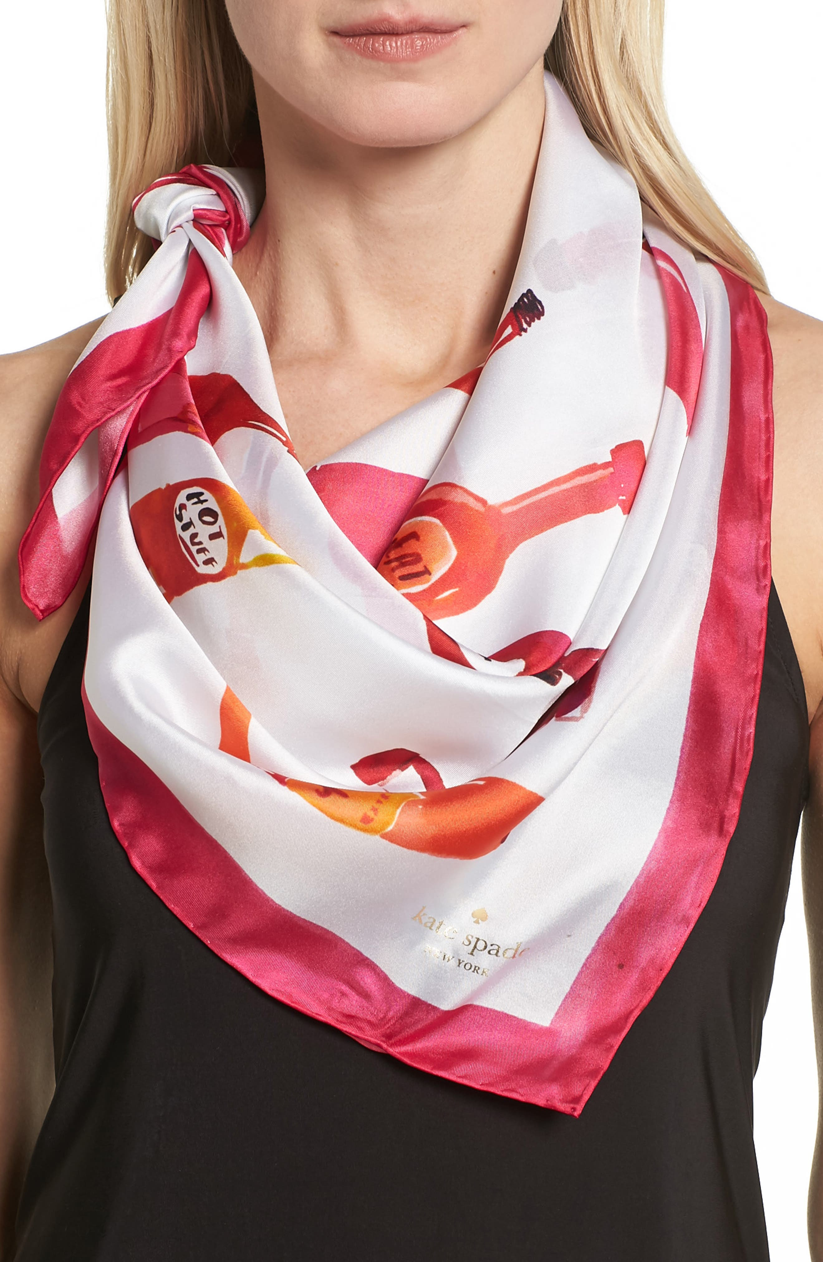 Alternate Image 1 Selected - kate spade new york hot sauce square silk scarf