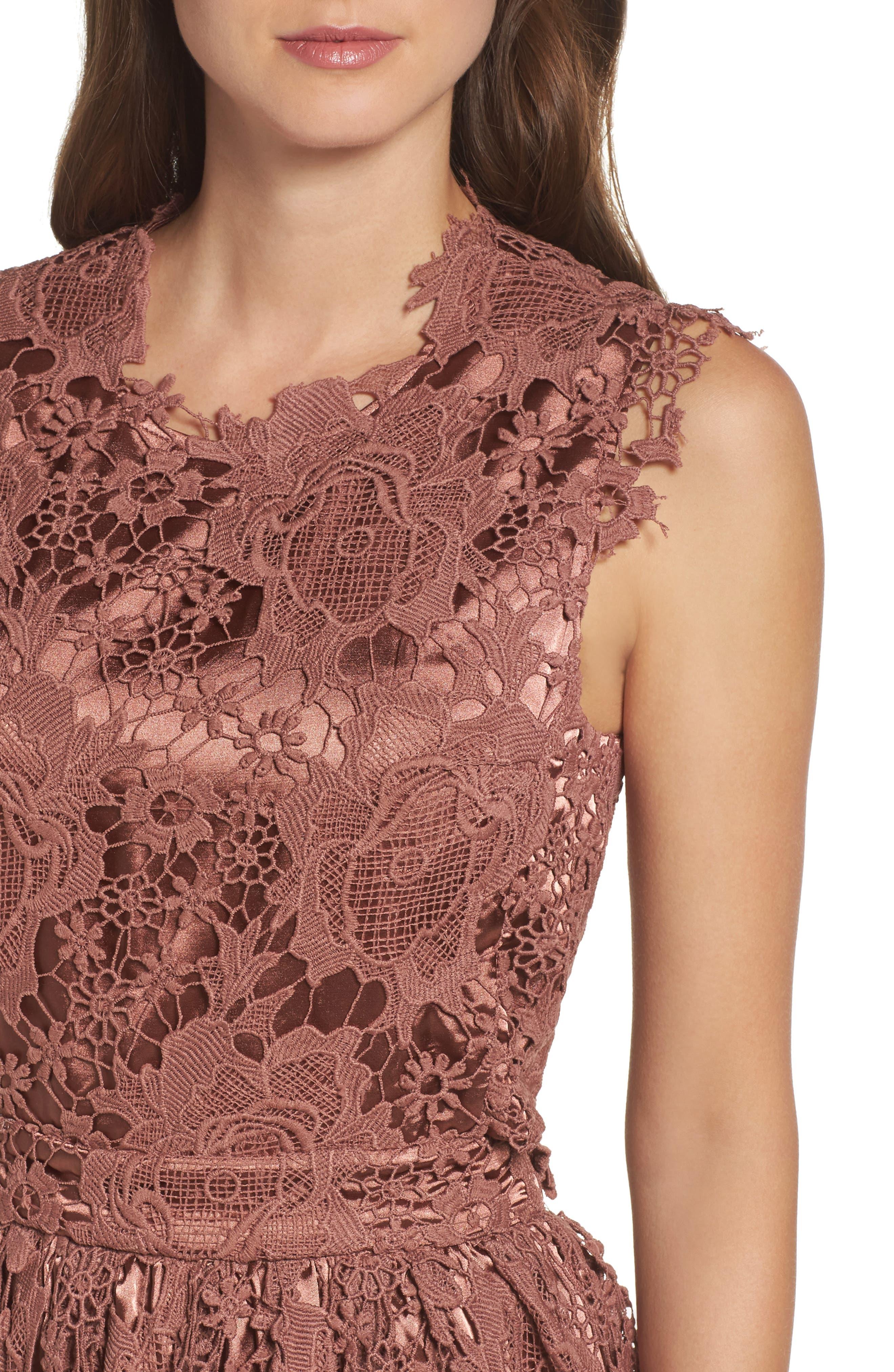 Lace Midi Dress,                             Alternate thumbnail 4, color,                             Rose