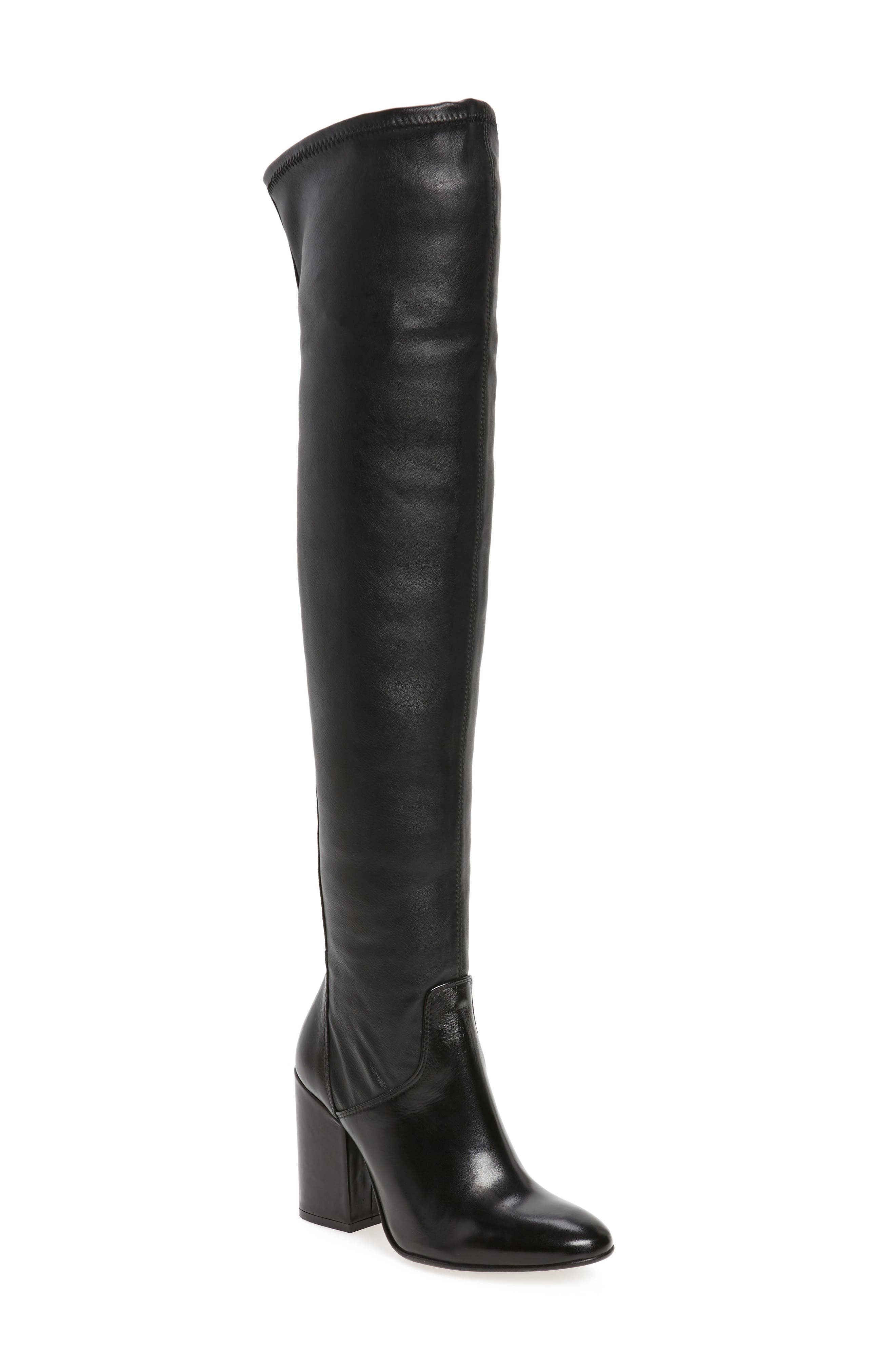 Clarice Over the Knee Boot,                         Main,                         color, Black Leather