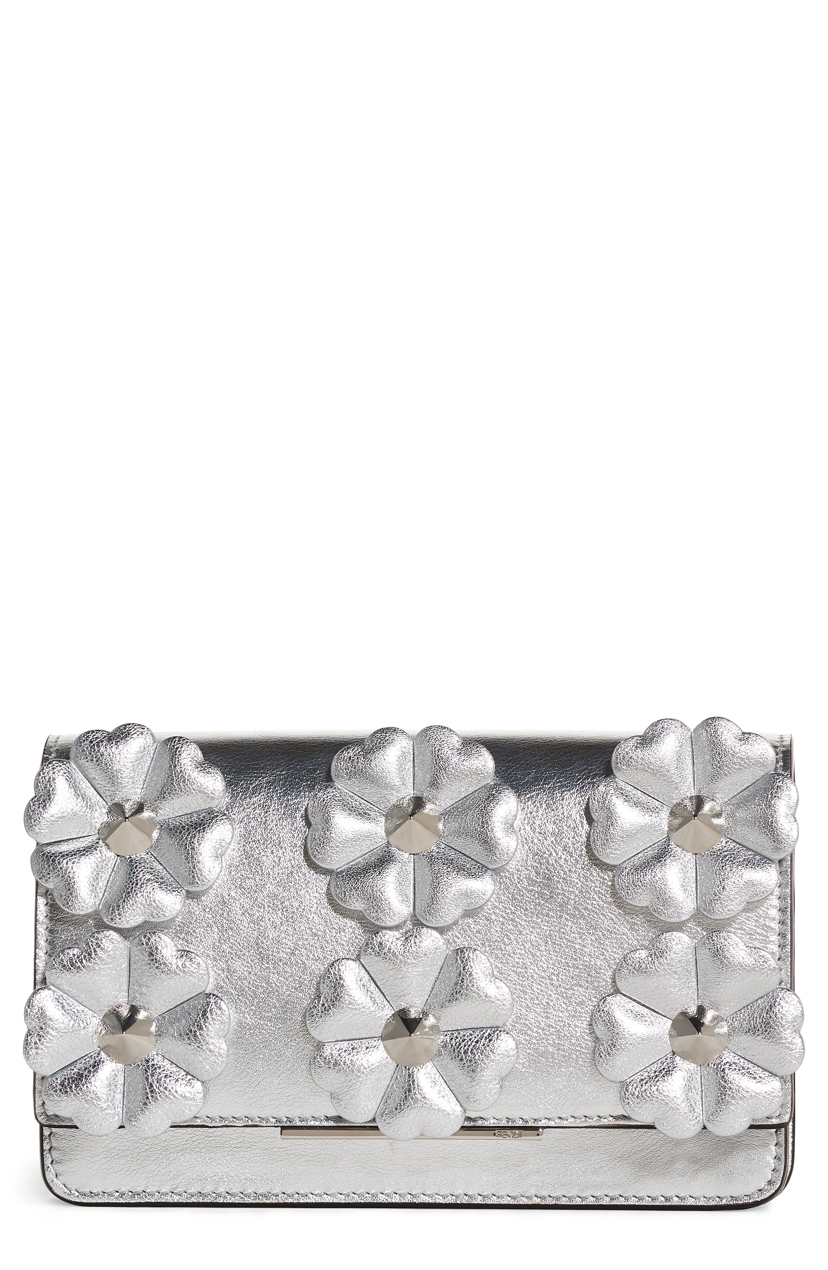 Fendi Flower Leather Wallet on a Chain