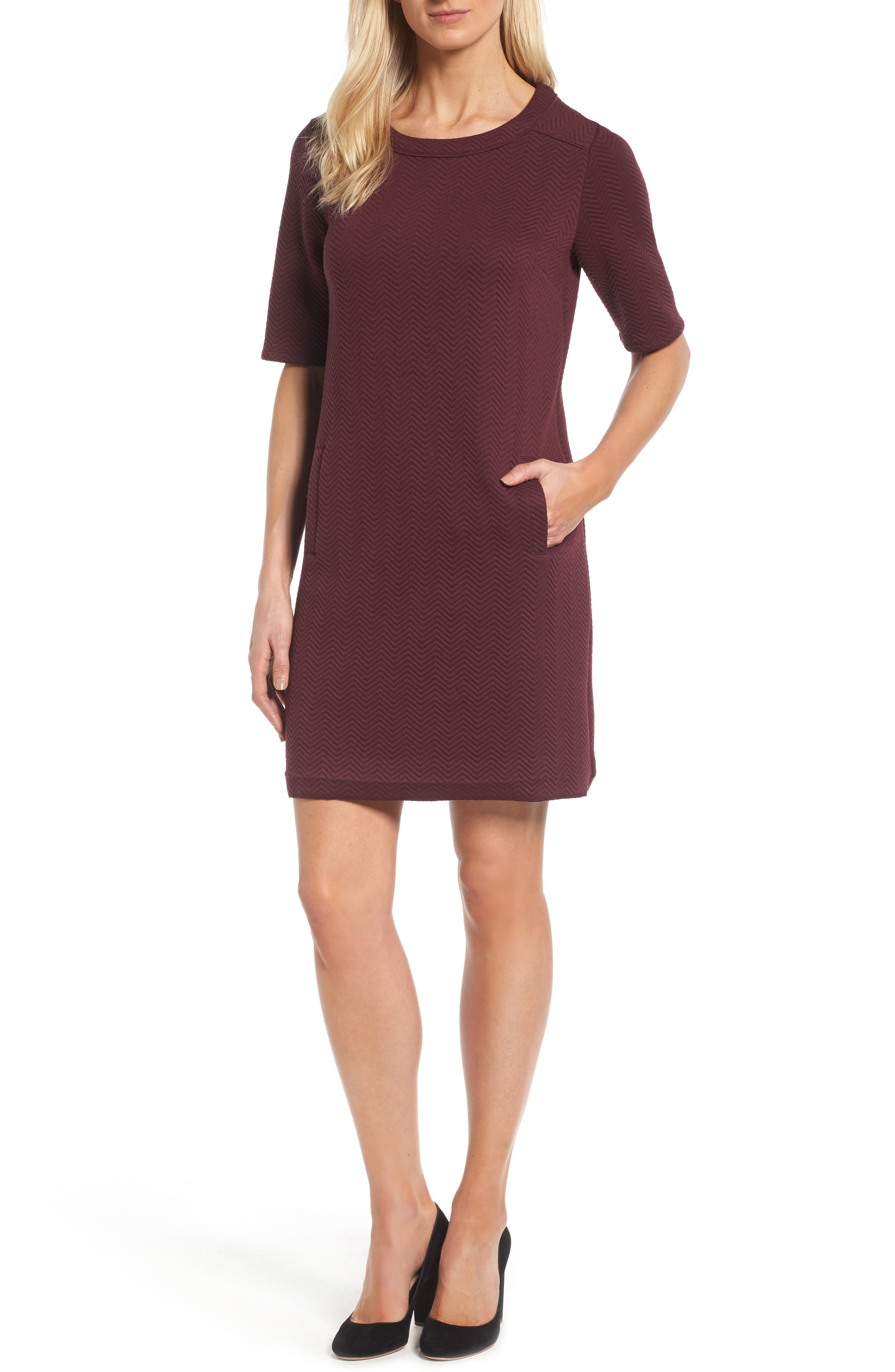 Alternate Image 1 Selected - Halogen® Textured Elbow Sleeve Tunic Dress (Regular & Petite)