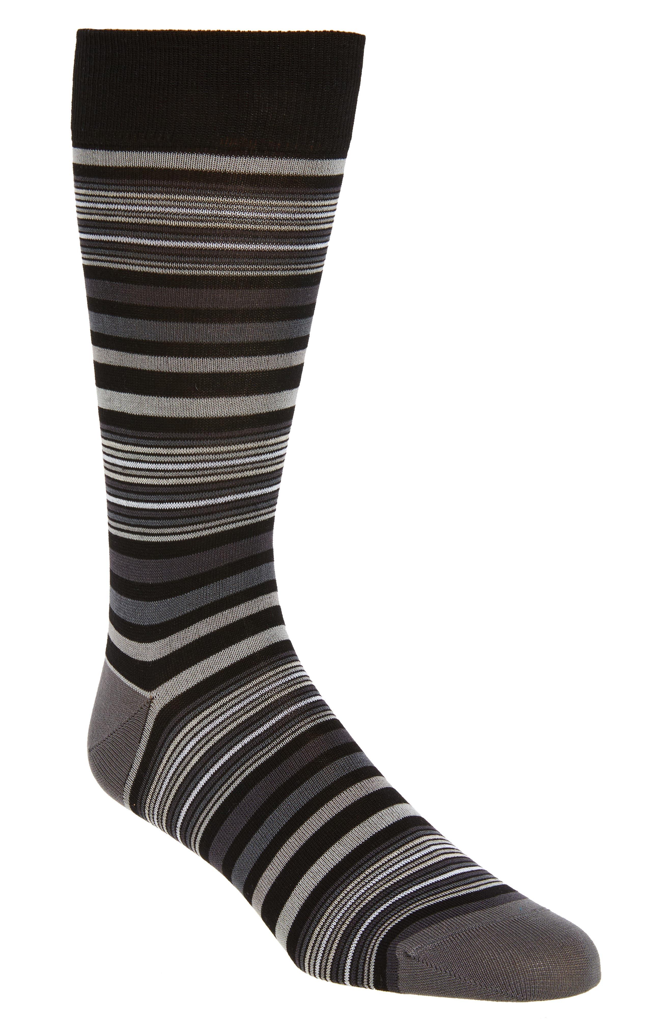 Main Image - Bugatchi Thin Stripe Crew Socks