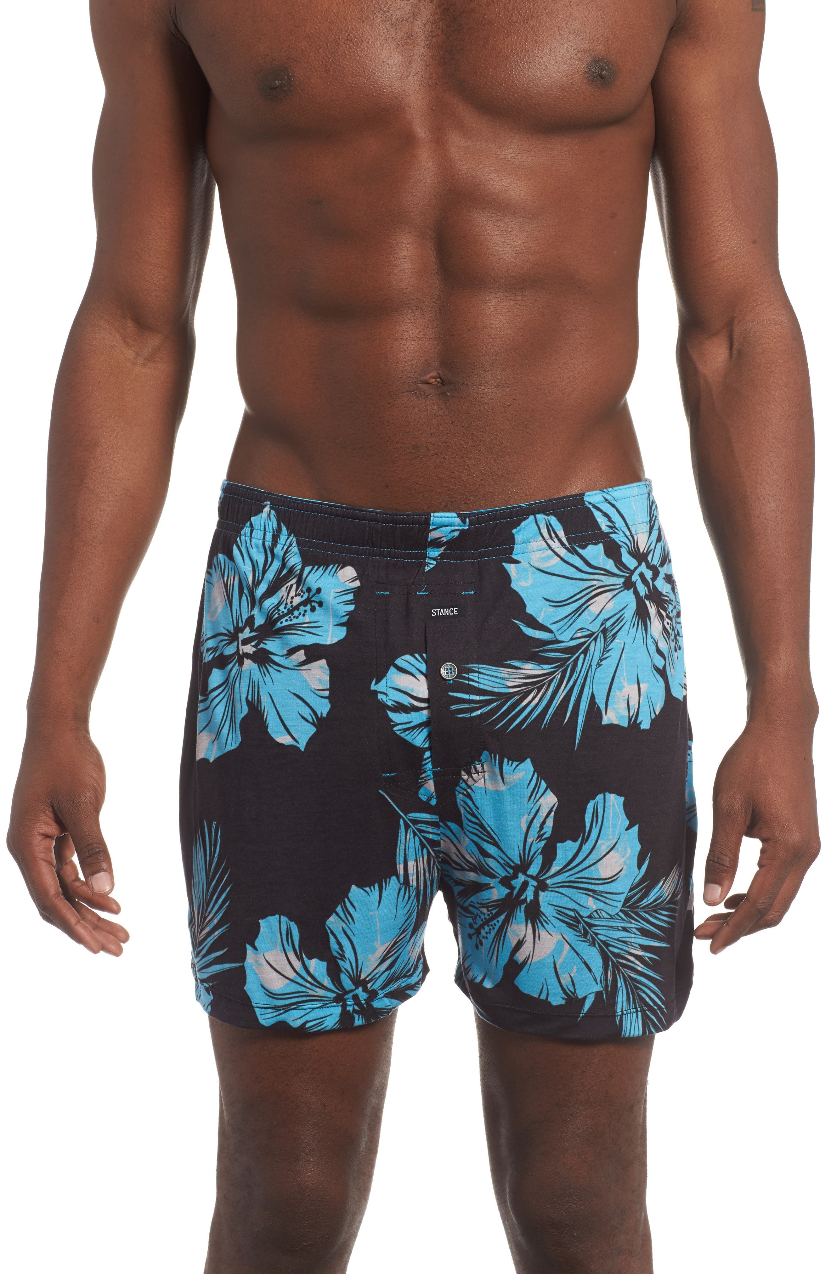 Mercato Flamingo Flowers Boxer Briefs,                             Main thumbnail 1, color,                             Blue