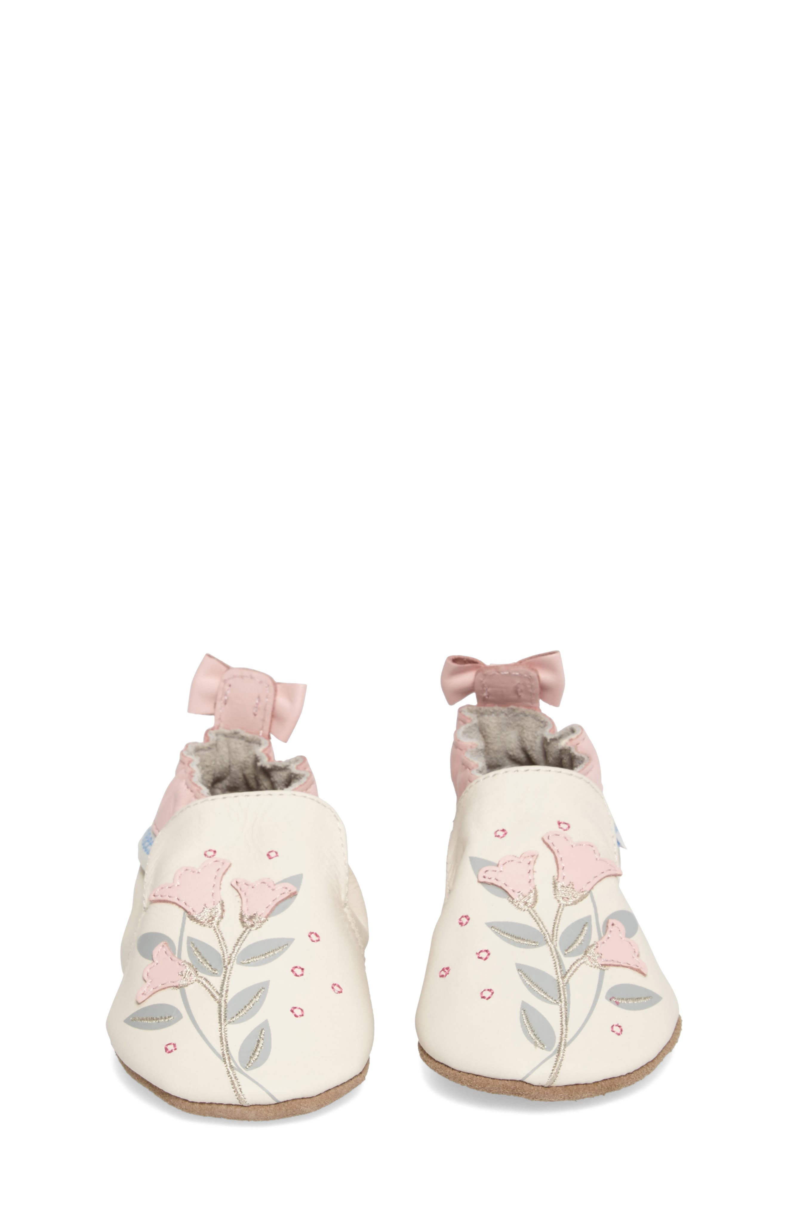 Rosealean Crib Shoe,                             Alternate thumbnail 4, color,                             Cream/ Pink Leather
