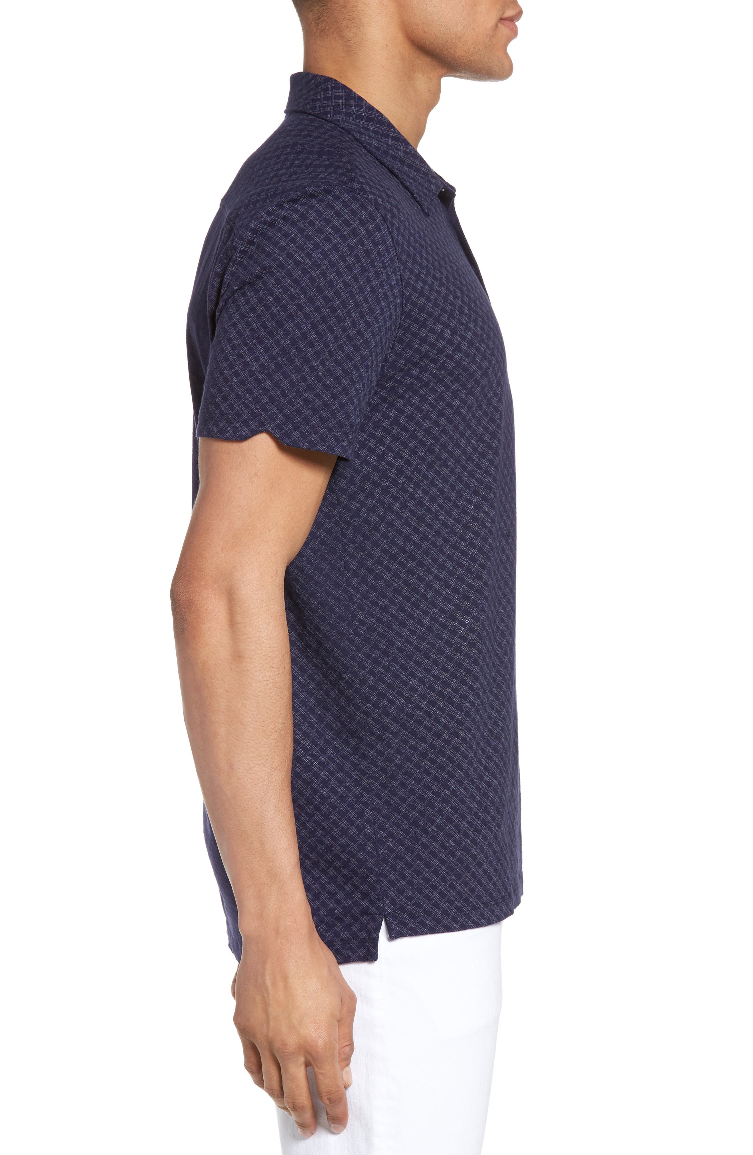 Mays Print Jersey Polo,                             Alternate thumbnail 3, color,                             Navy