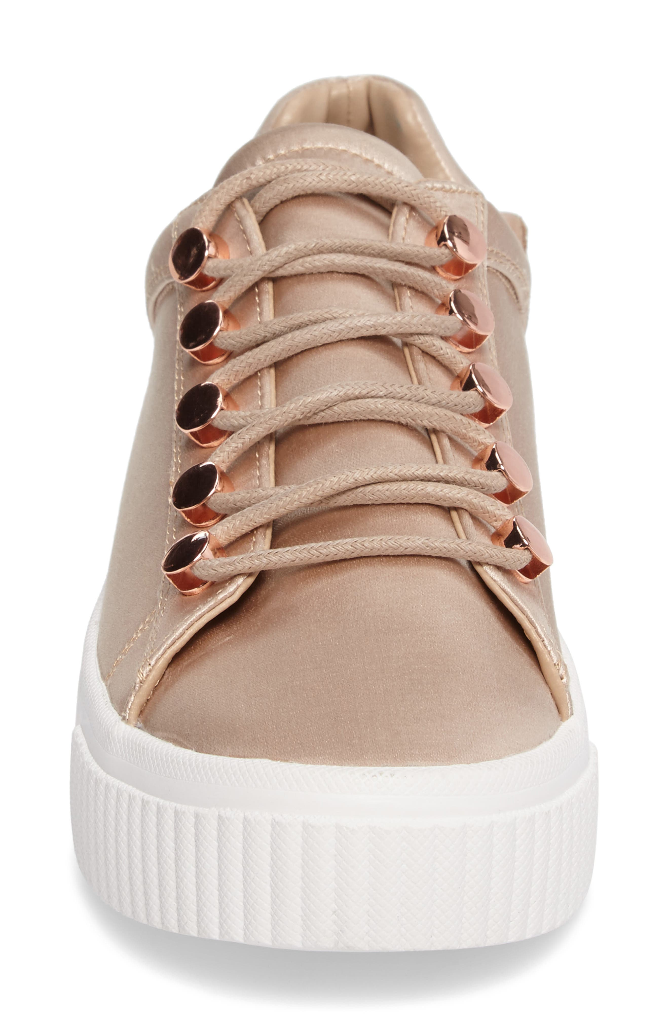 Rae 3 Platform Sneaker,                             Alternate thumbnail 4, color,                             Blush Satin