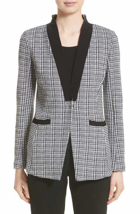 St. John Collection Mini Houndstooth Plaid Jacket
