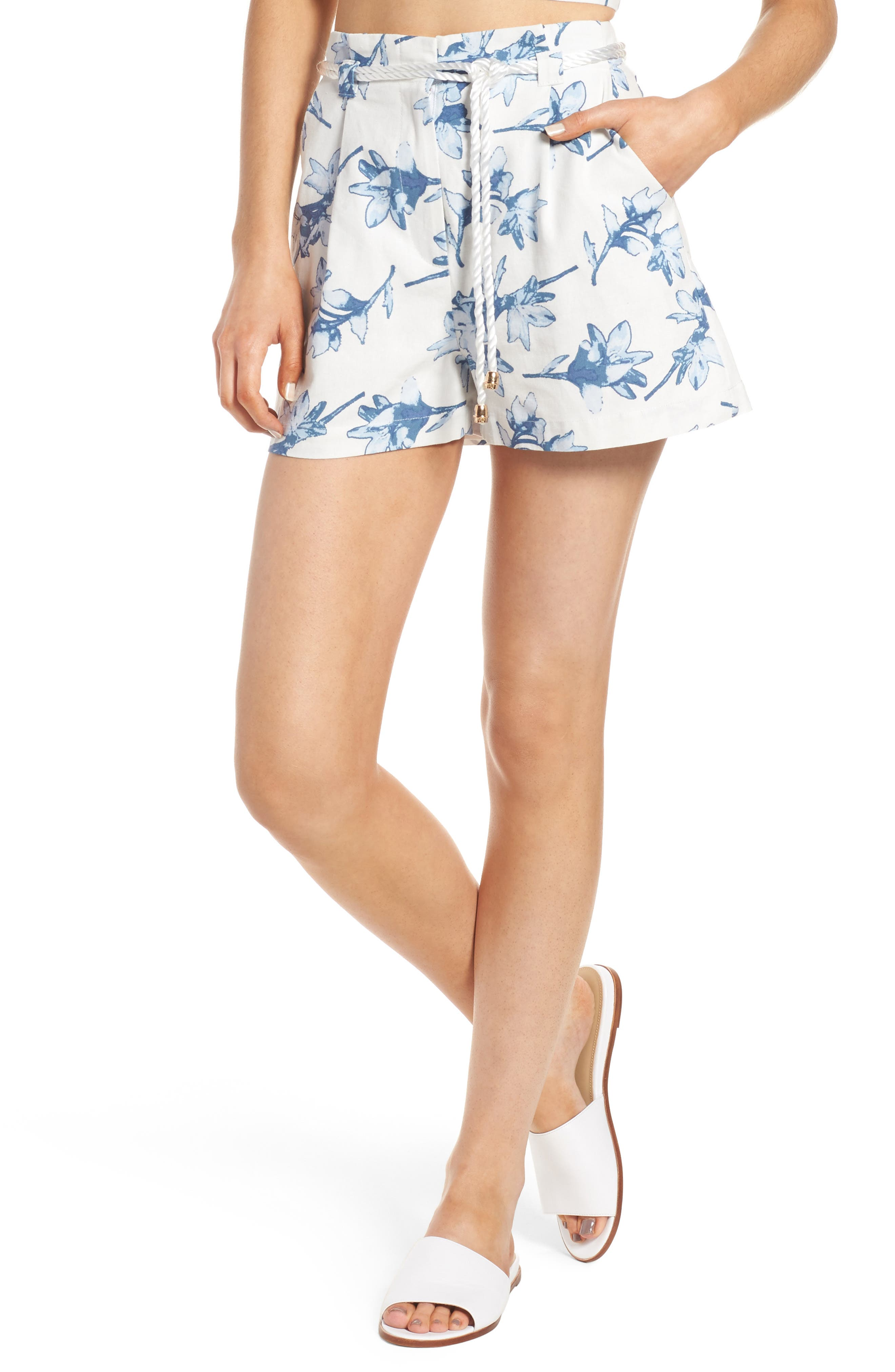 High Waist Linen Shorts,                             Main thumbnail 1, color,                             White