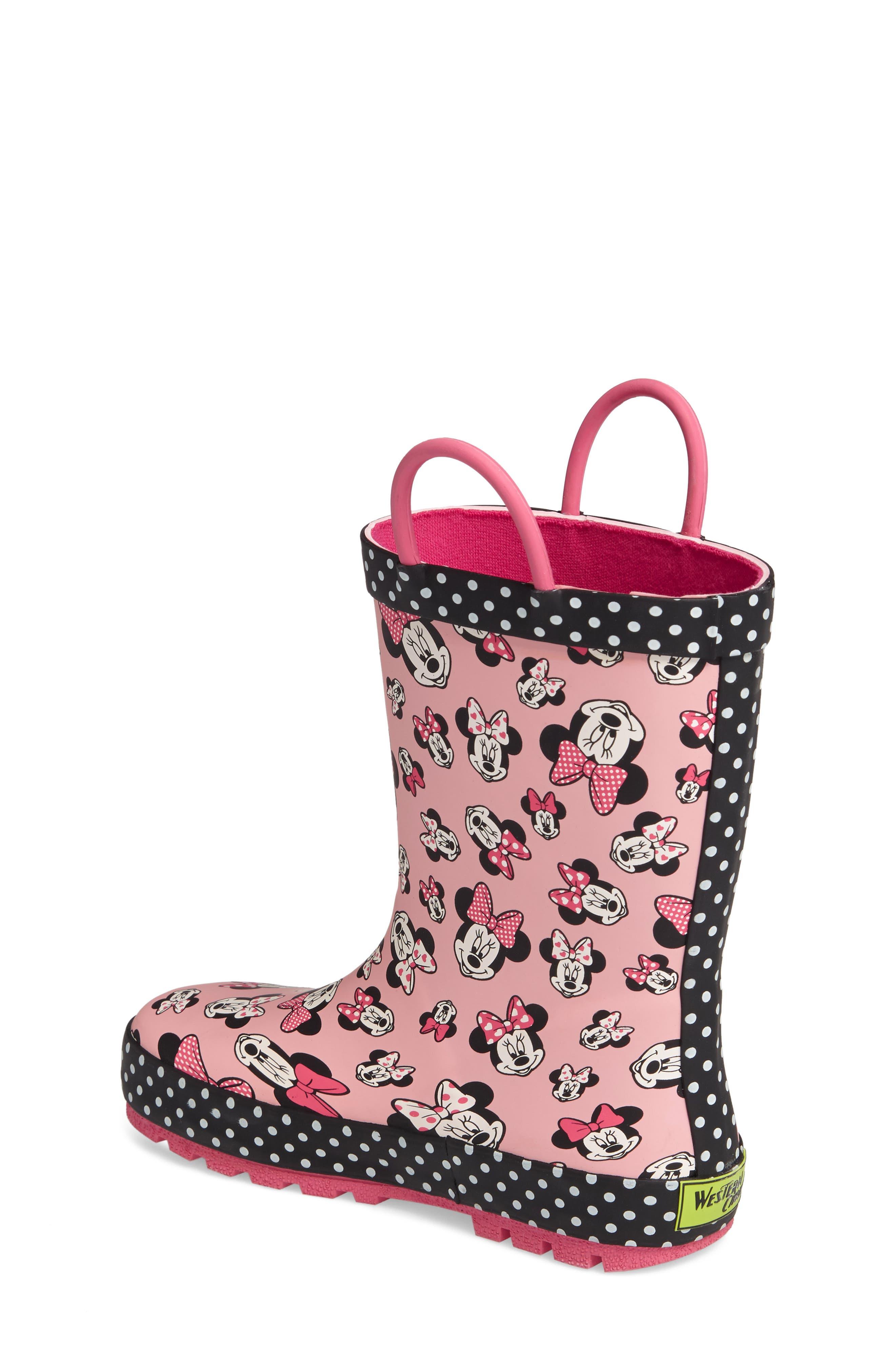 Alternate Image 2  - Western Chief Disney® Minnie Mouse Waterproof Rain Boot (Walker, Toddler, Little Kid & Big Kid)
