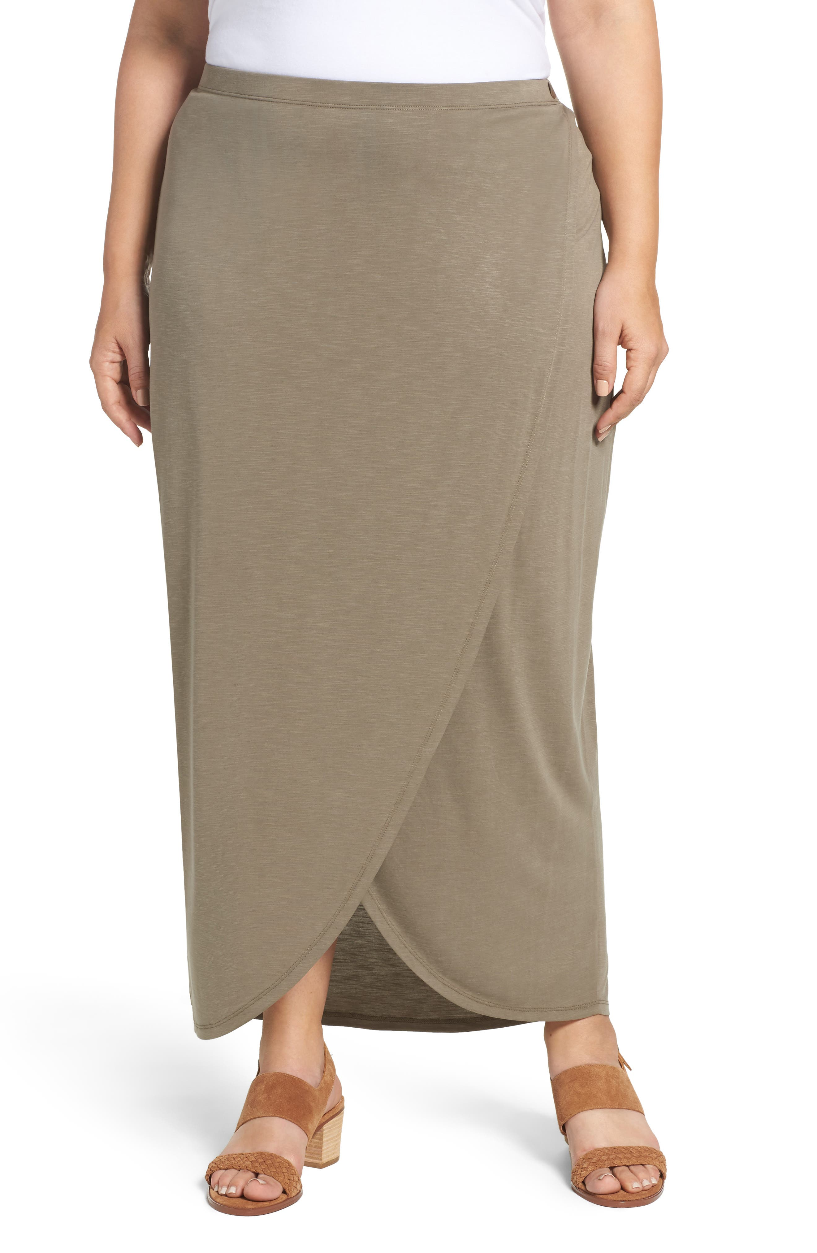 Alternate Image 1 Selected - NIC+ZOE Boardwalk Knit Wrap Maxi Skirt (Plus Size)