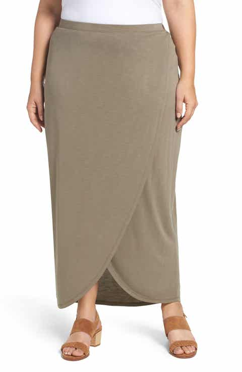 NIC+ZOE Boardwalk Knit Wrap Maxi Skirt (Plus Size)