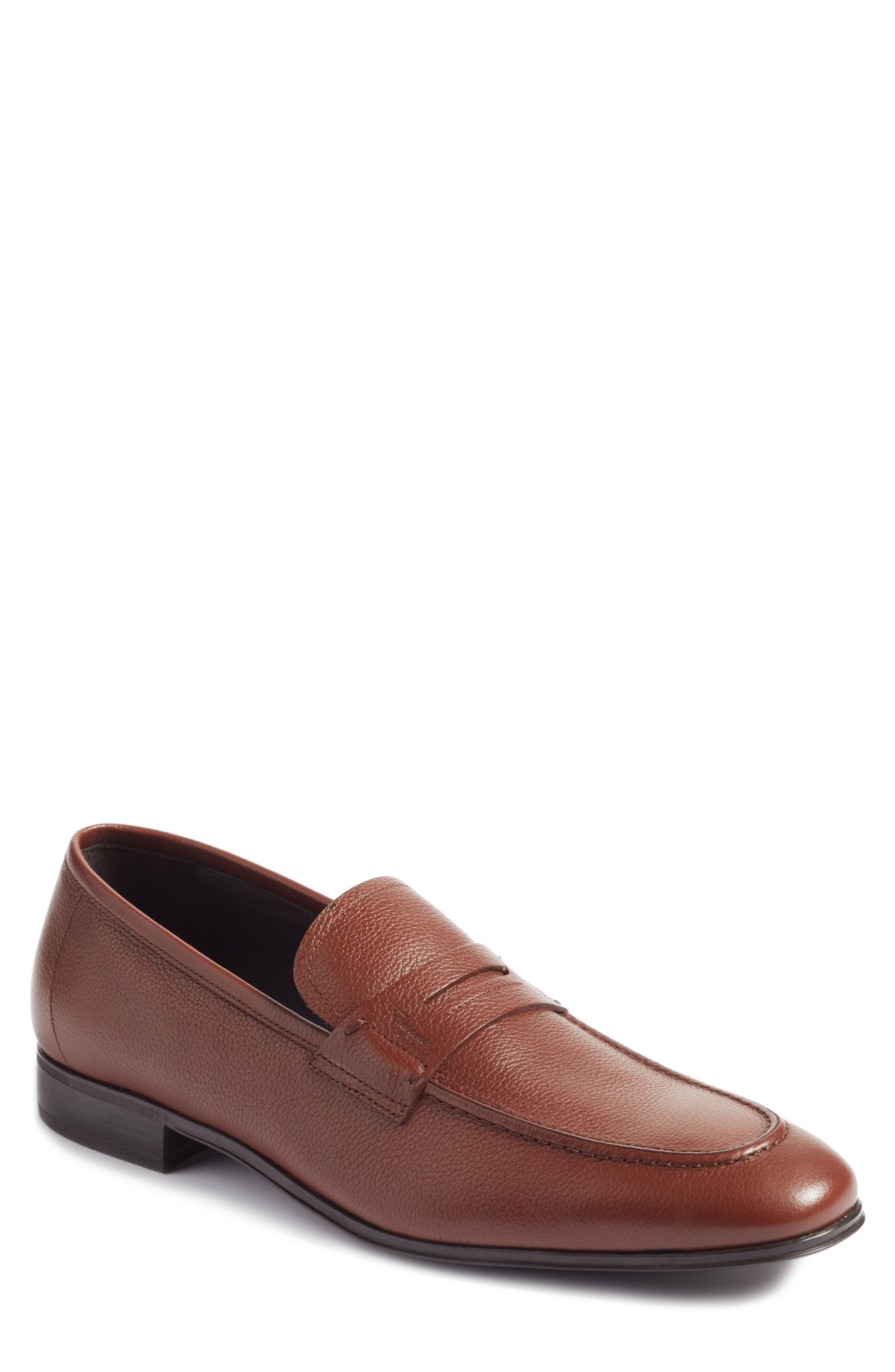 Fiorino 2 Penny Loafer,                         Main,                         color, Dark Cuoio Leather