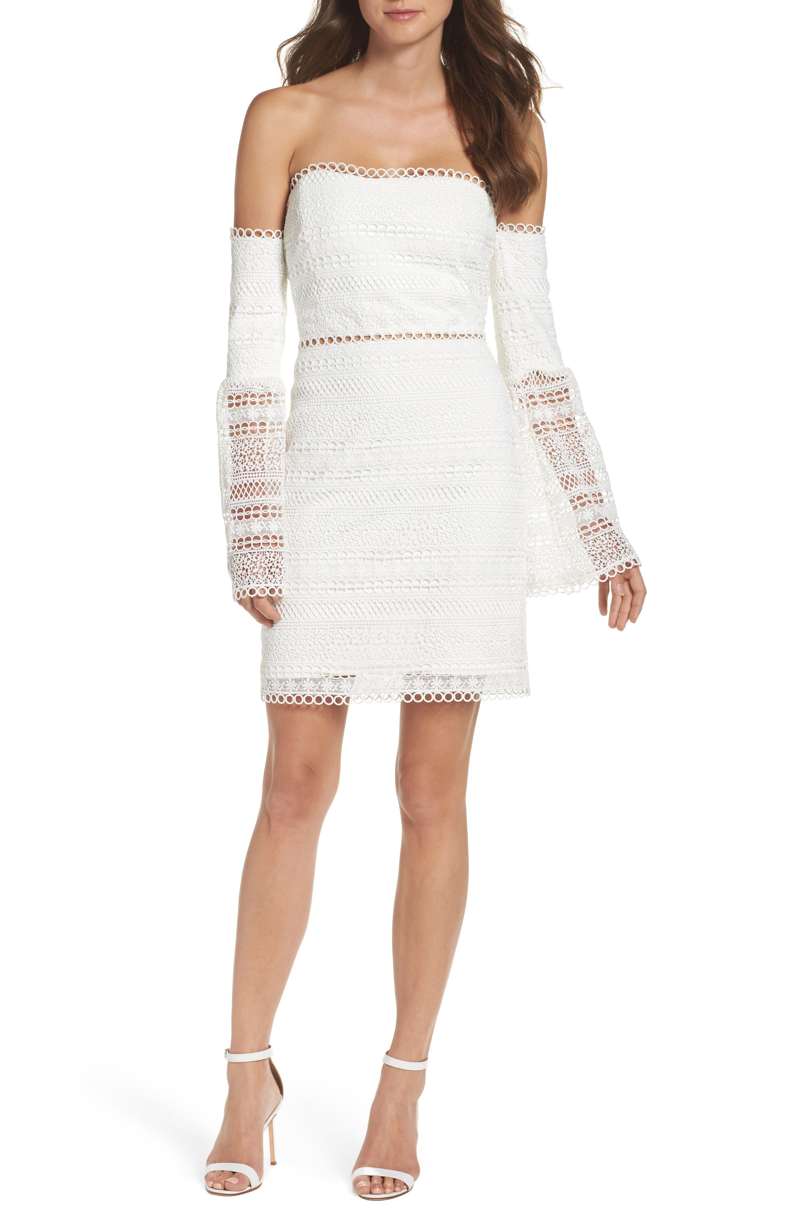 Catalina Lace Off the Shoulder Sheath Dress,                         Main,                         color, White