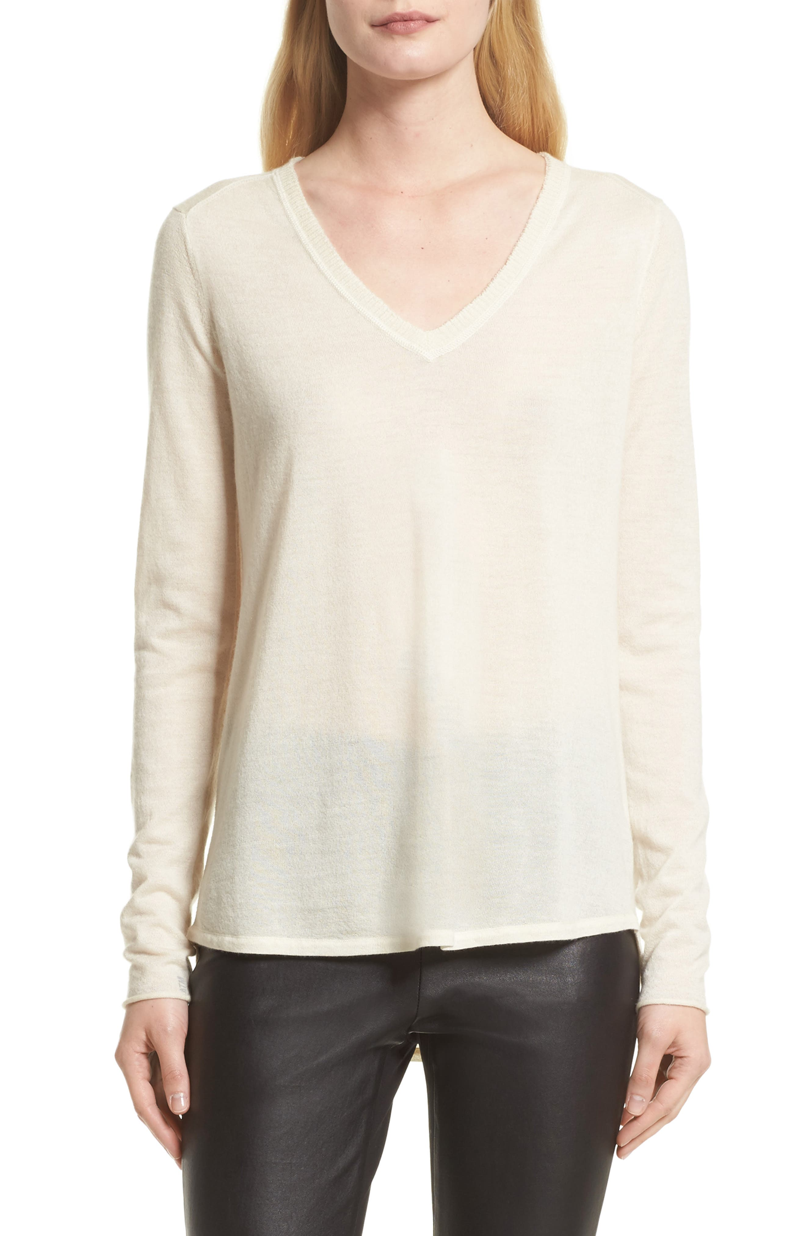 Alternate Image 1 Selected - ATM Anthony Thomas Melillo Raw Edge Cashmere Sweater (Nordstrom Exclusive)