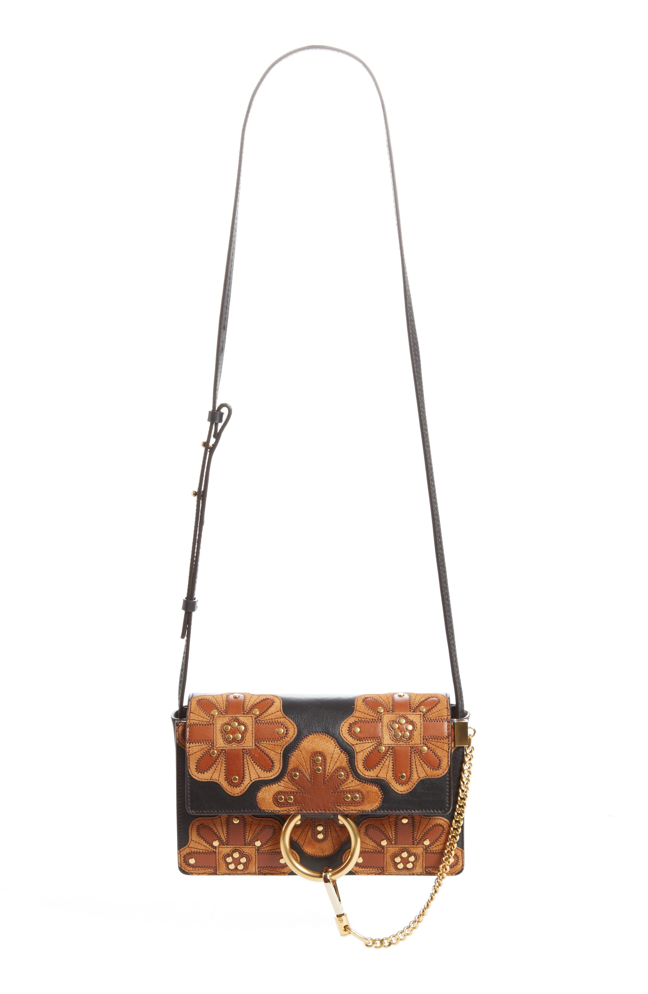 Small Faye Studded Leather & Suede Crossbody Bag,                         Main,                         color, Black