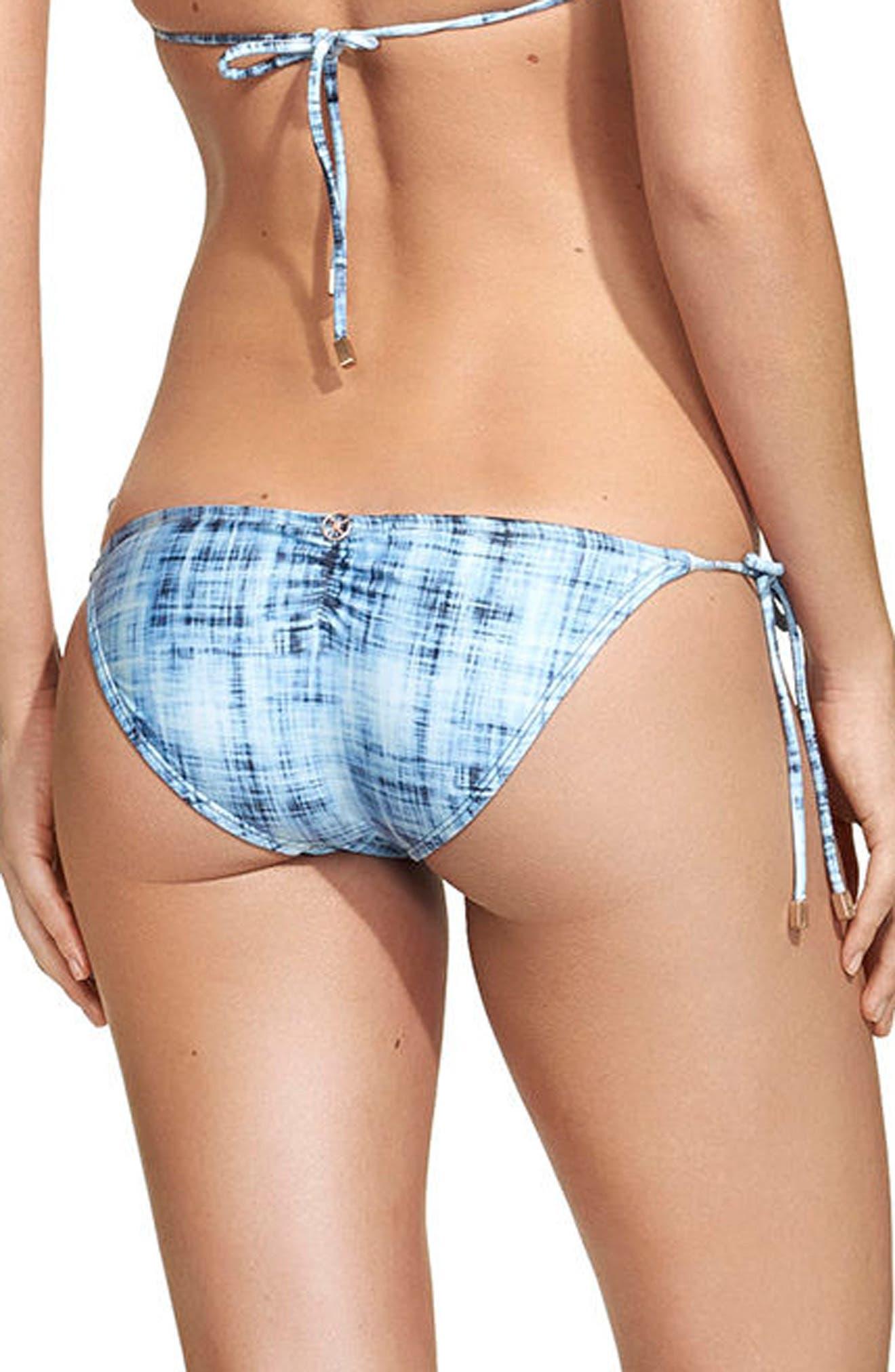 Rustic Ripple Side Tie Bikini Bottoms,                         Main,                         color, Blue