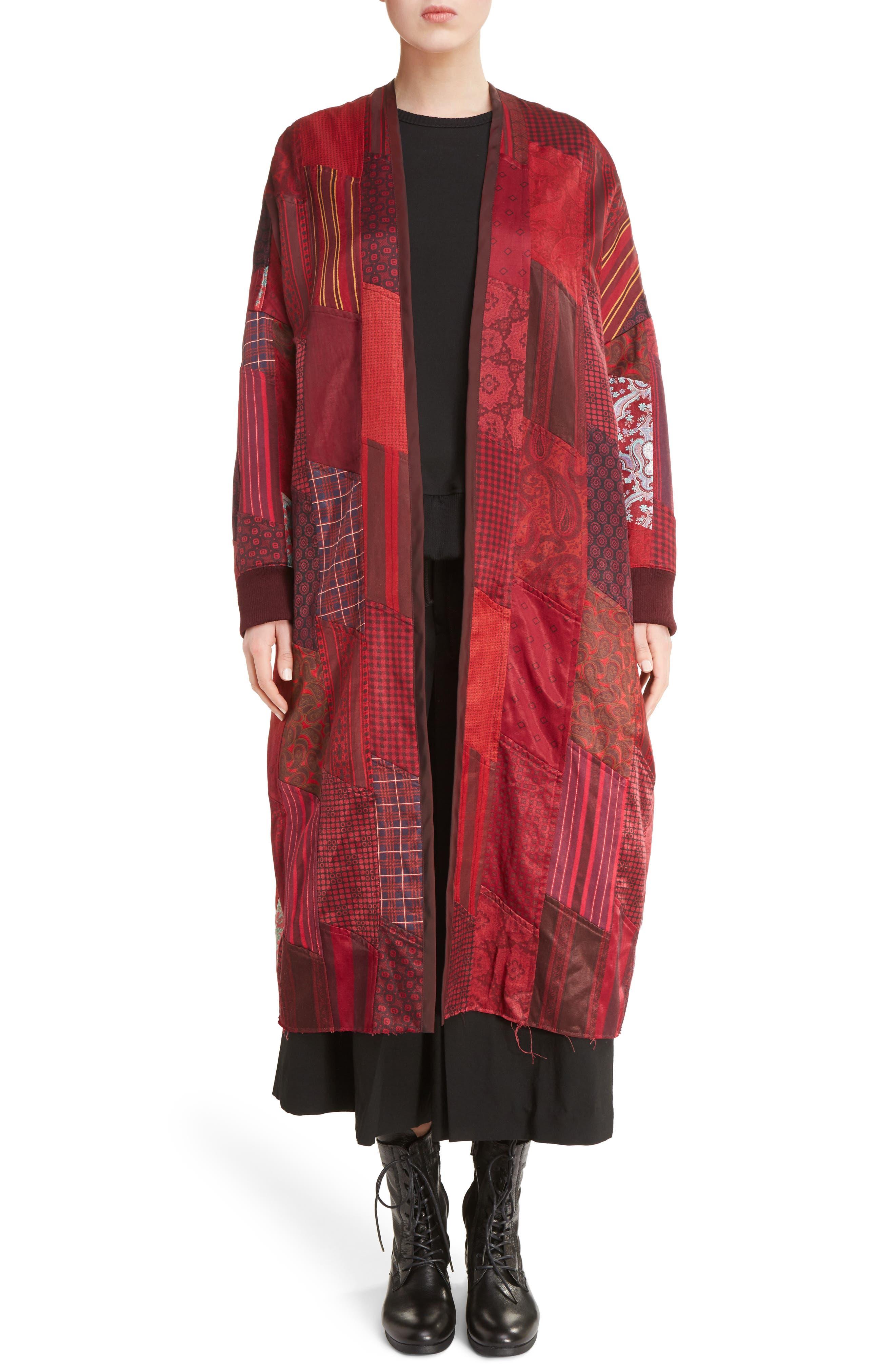 K Collarless Patchwork Coat,                         Main,                         color, Bordeaux