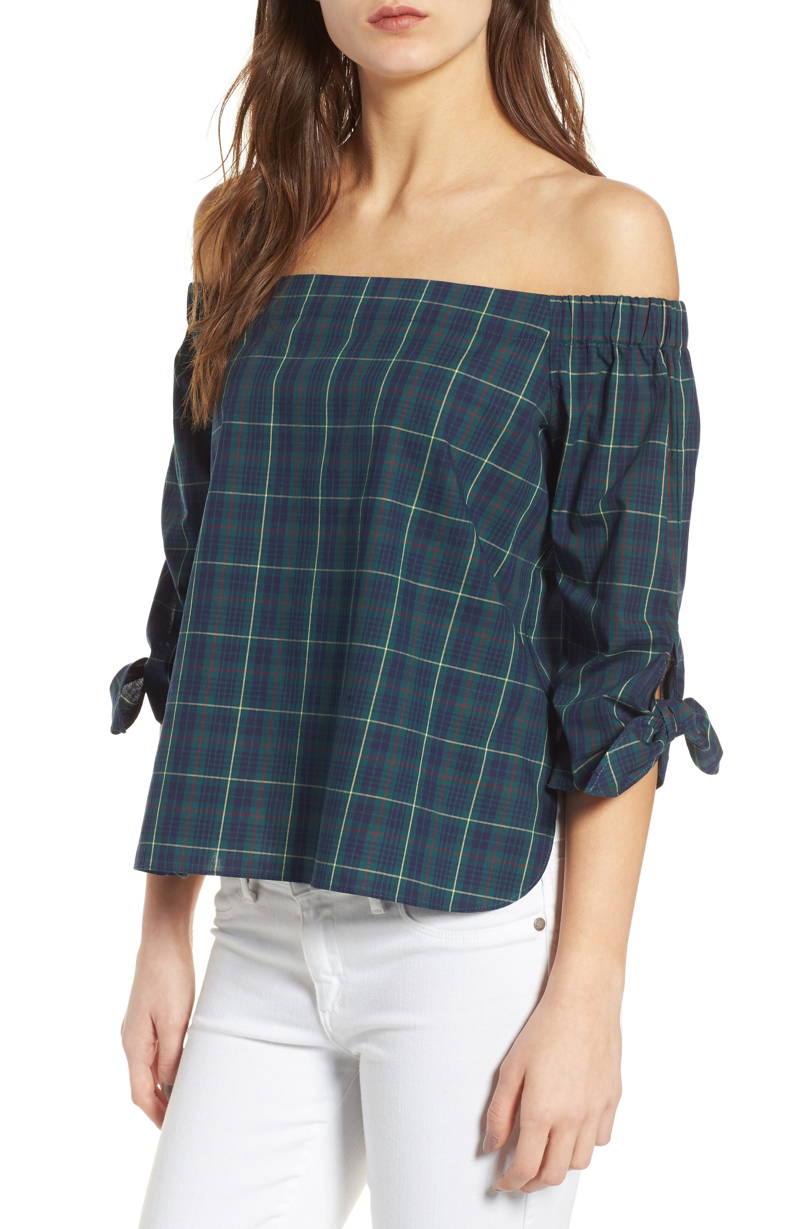 Twin Fin Off the Shoulder Top,                         Main,                         color, Plaid