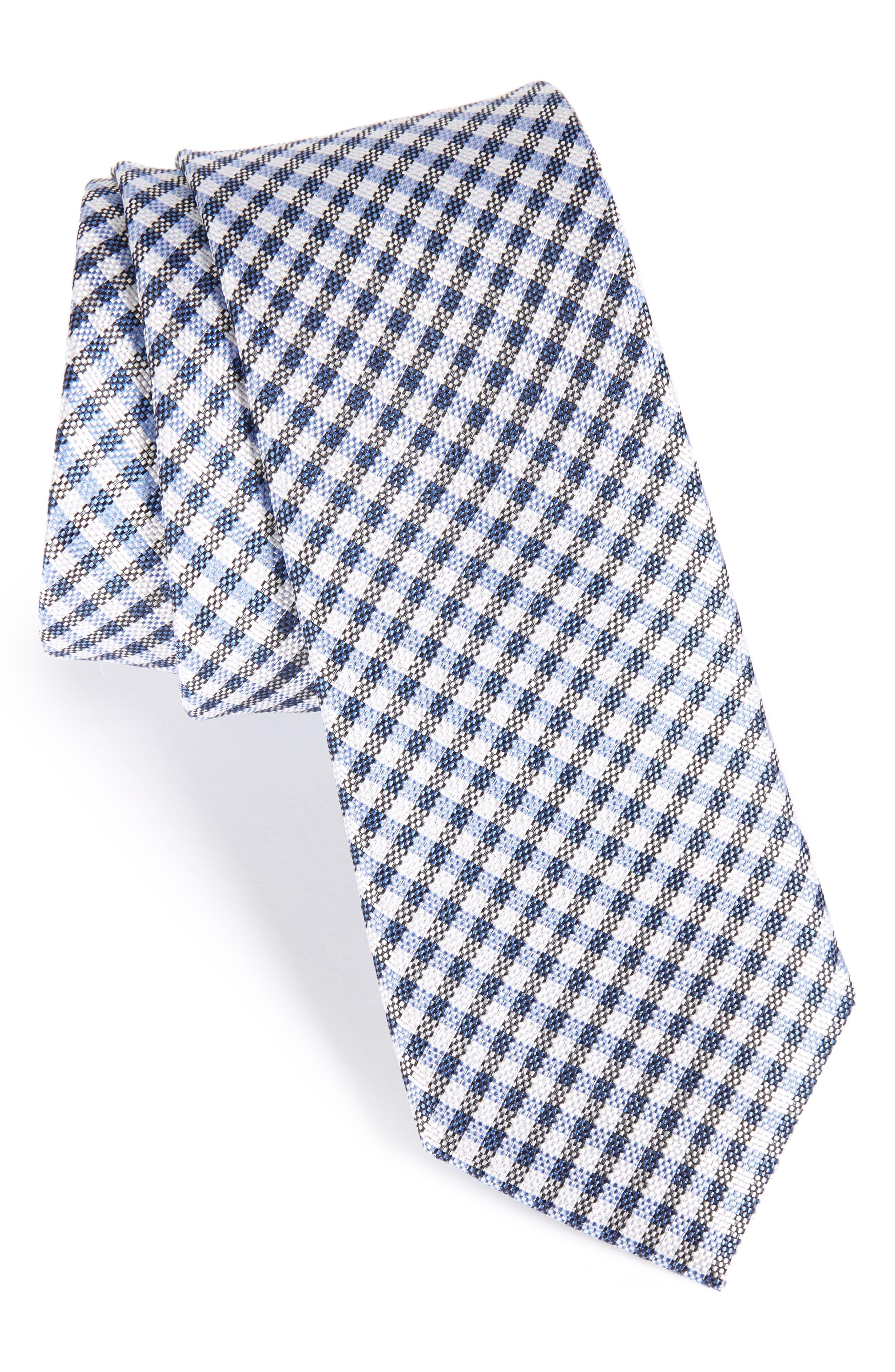 Check Silk Skinny Tie,                         Main,                         color, Blue