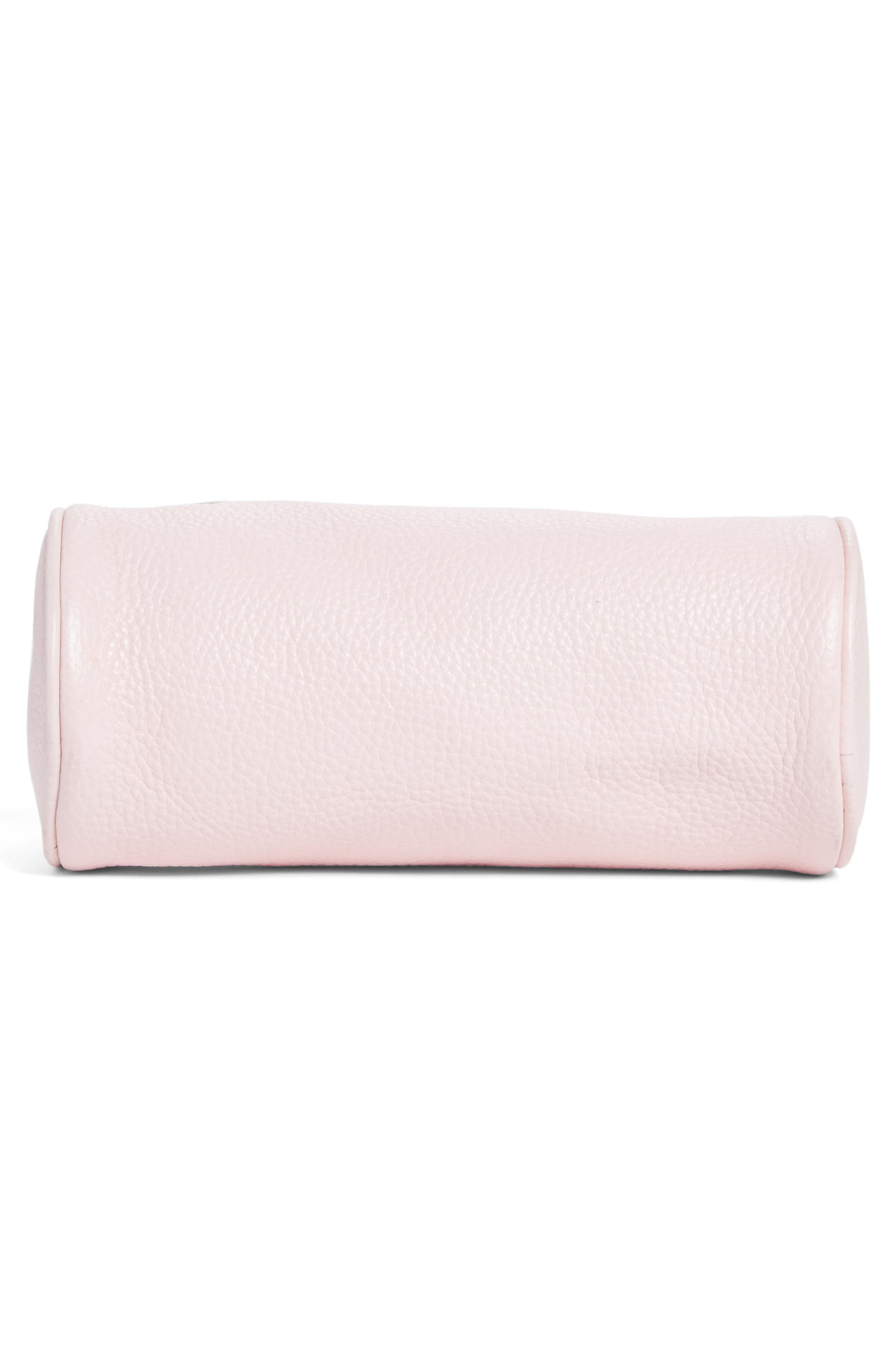Pebbled Leather Duffel Wristlet Clutch,                             Alternate thumbnail 6, color,                             Blush Pink