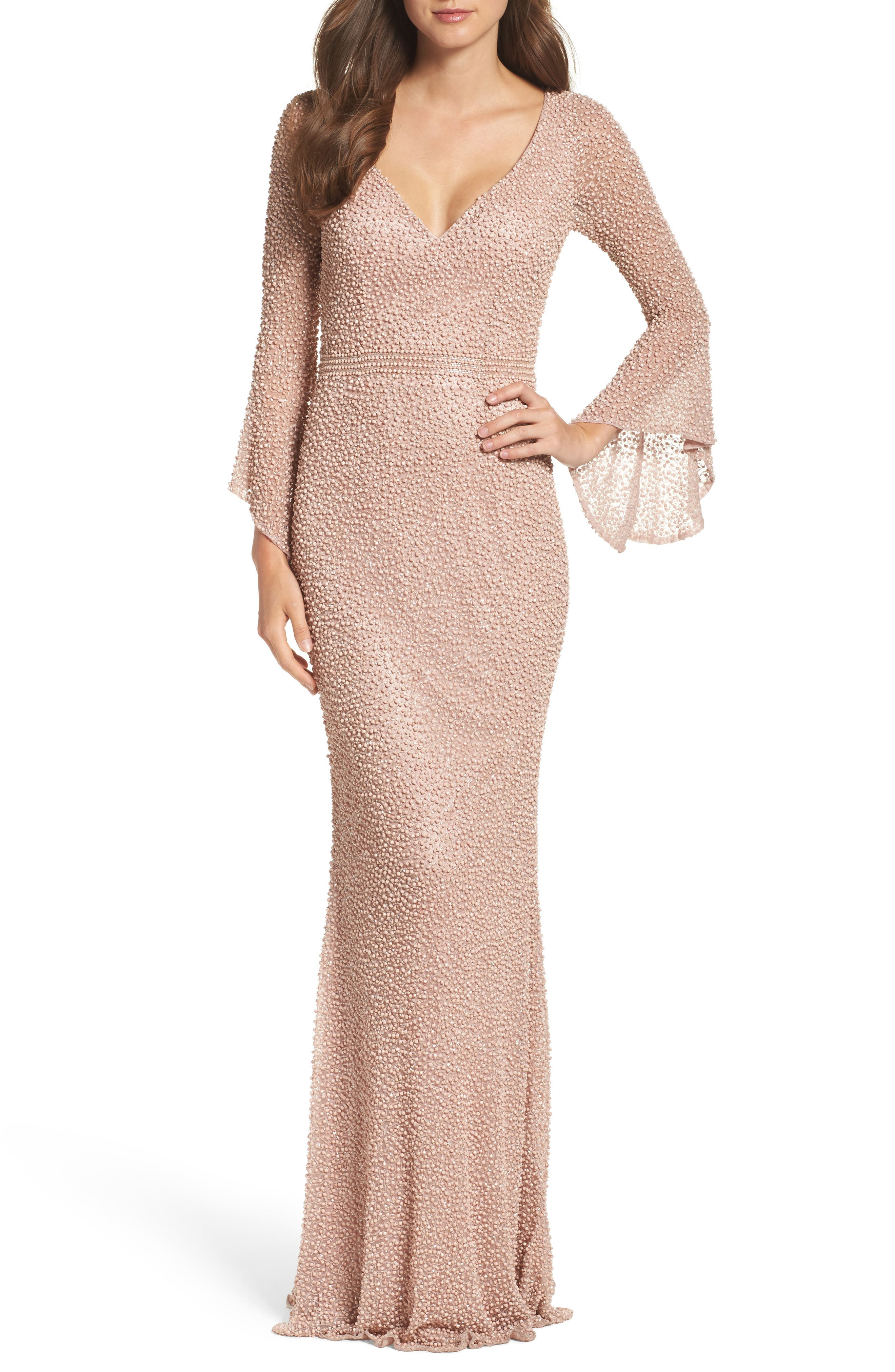 Main Image - Mac Duggal Beaded Bell Sleeve Gown