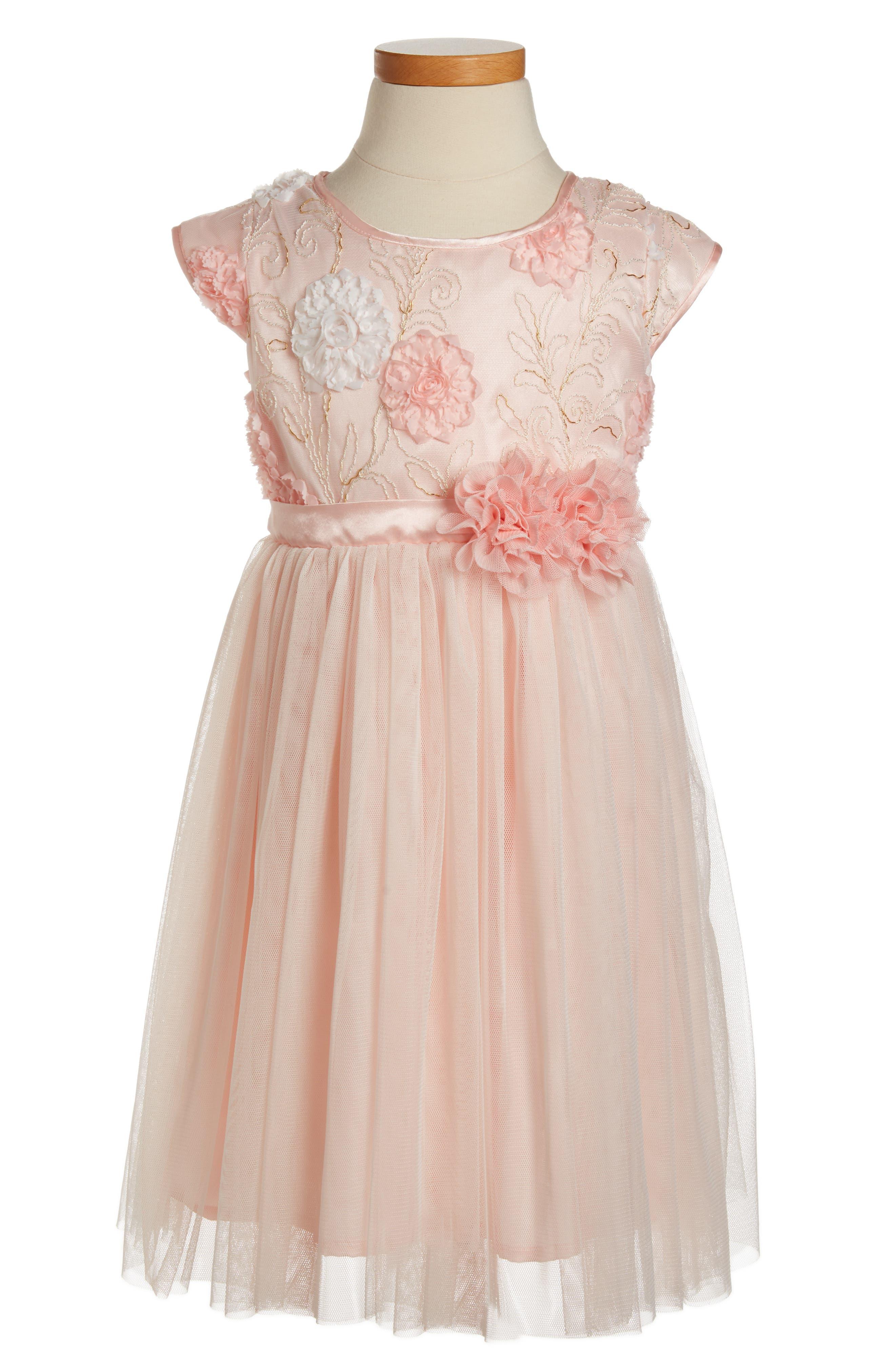 Golden Trim Flower Dress,                         Main,                         color, Peach