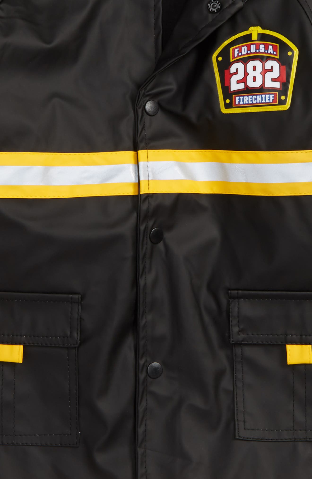 Fire Chief Raincoat,                             Alternate thumbnail 3, color,                             Black