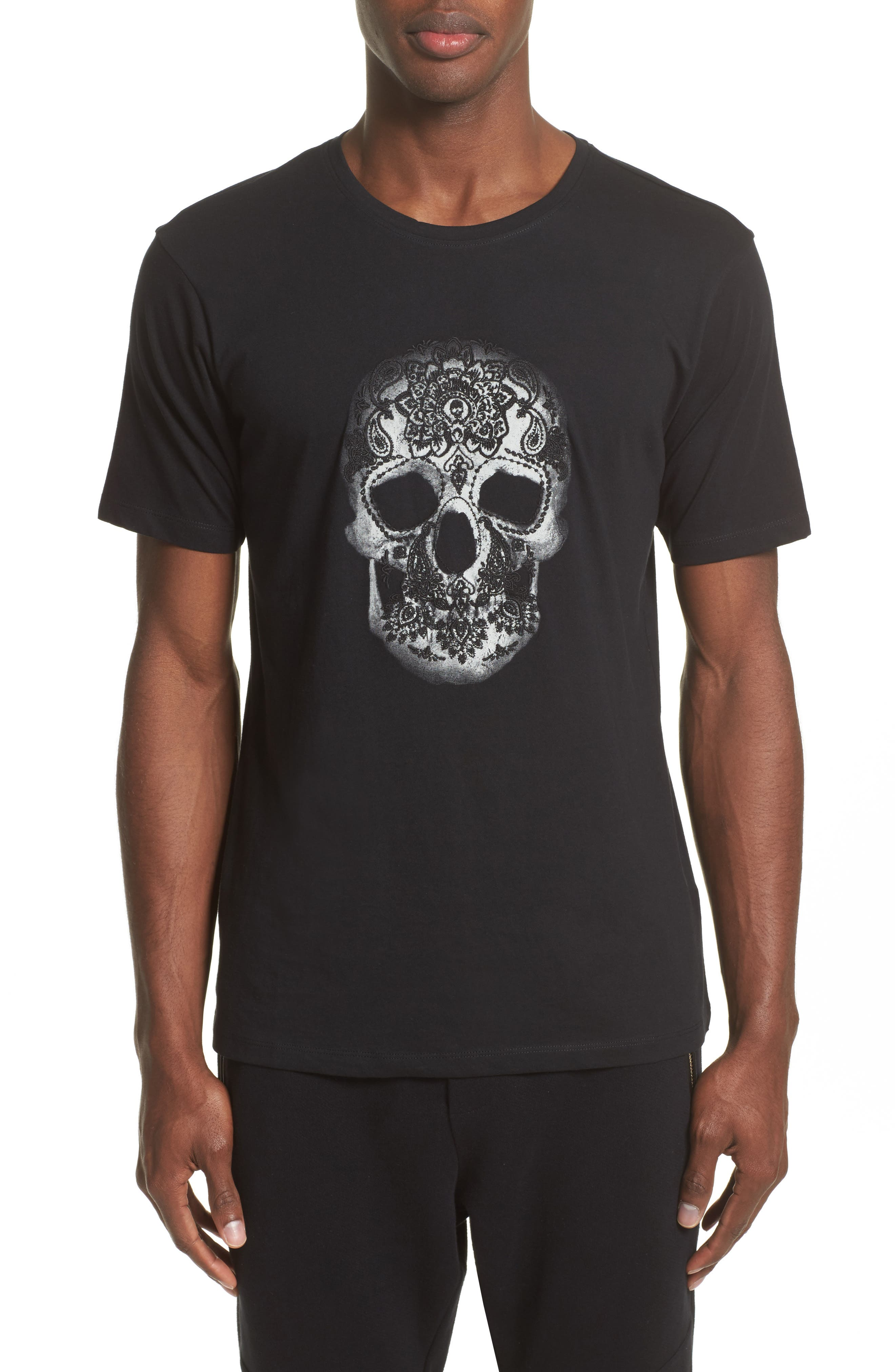 Embroidered Skull Graphic T-Shirt,                         Main,                         color, Black