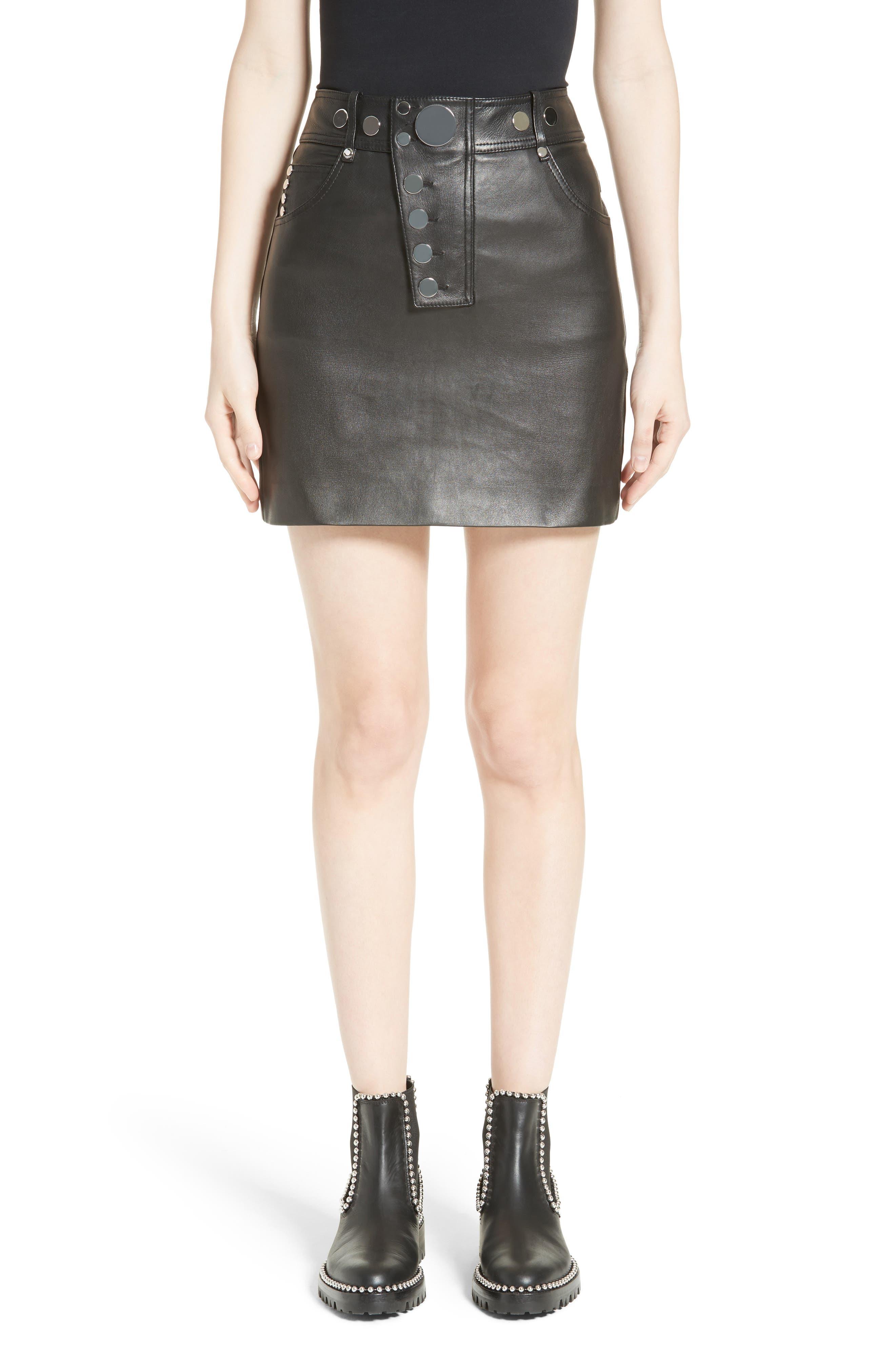 Snap Leather Miniskirt,                         Main,                         color, Onyx