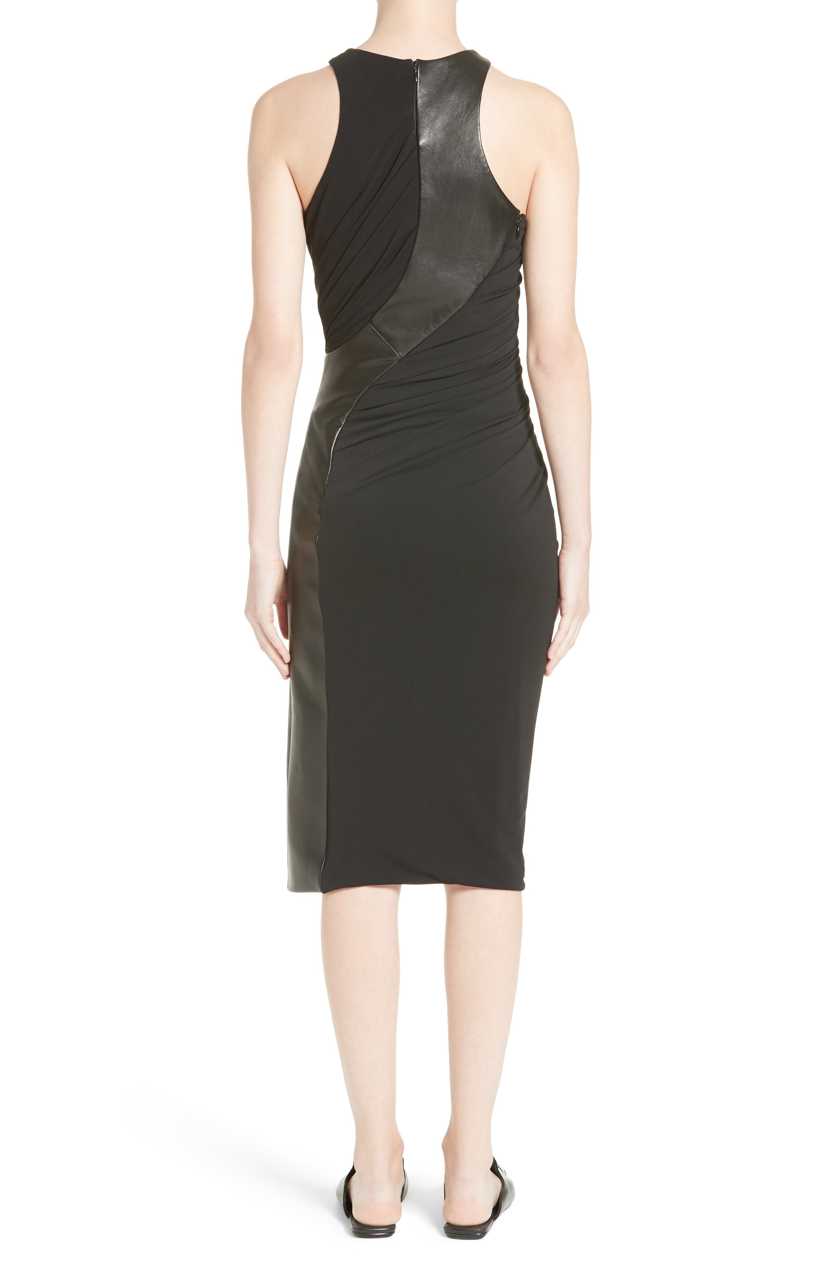 Draped Jersey & Leather Dress,                             Alternate thumbnail 2, color,                             Onyx