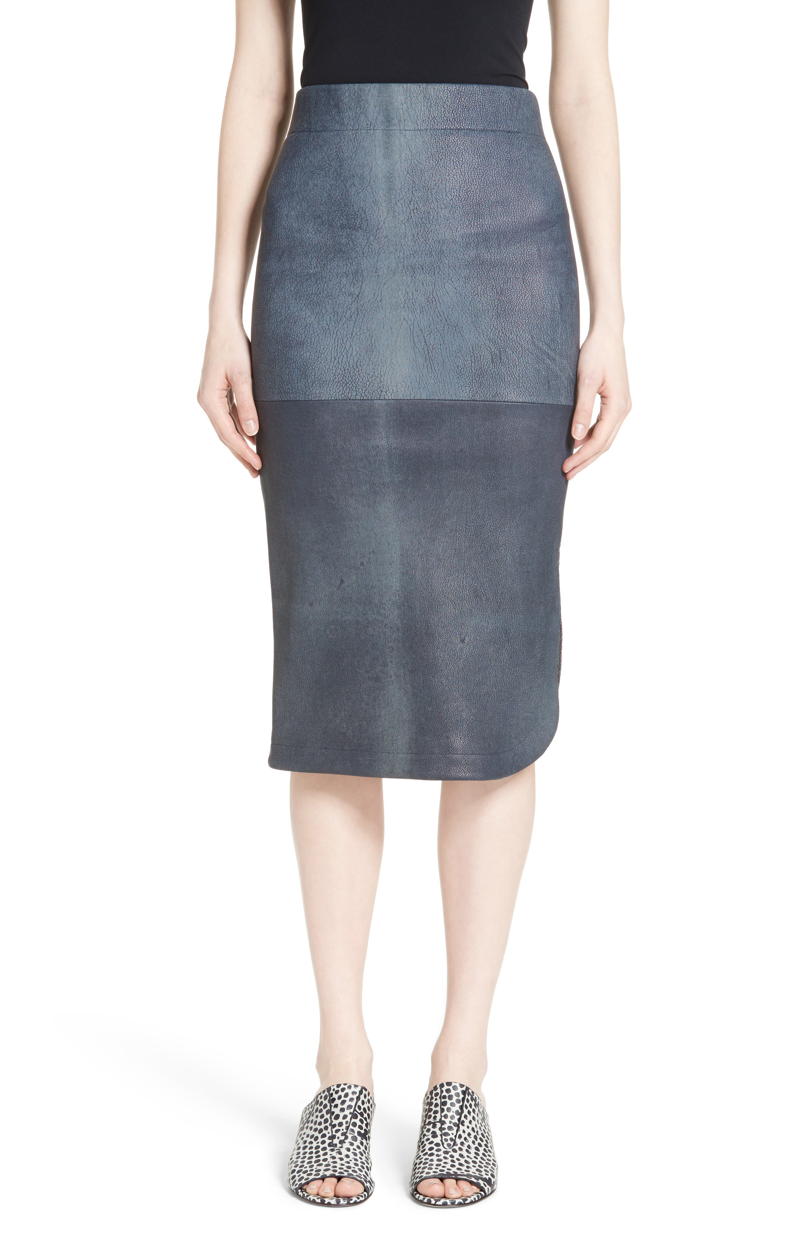 Alternate Image 1 Selected - Zero + Maria Cornejo Rai Leather Curved Skirt
