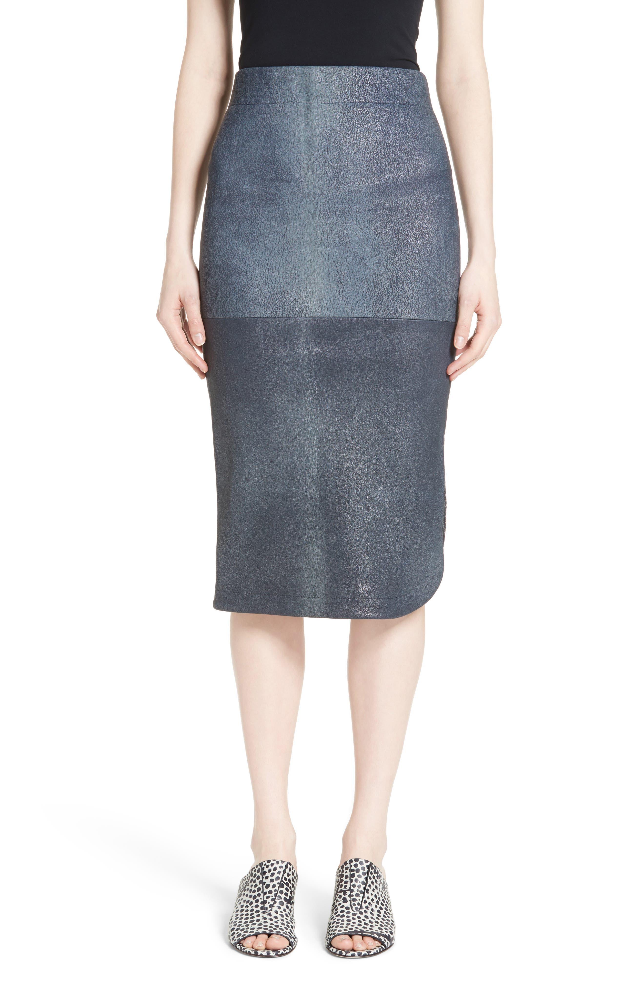 Rai Leather Curved Skirt,                         Main,                         color, Indigo
