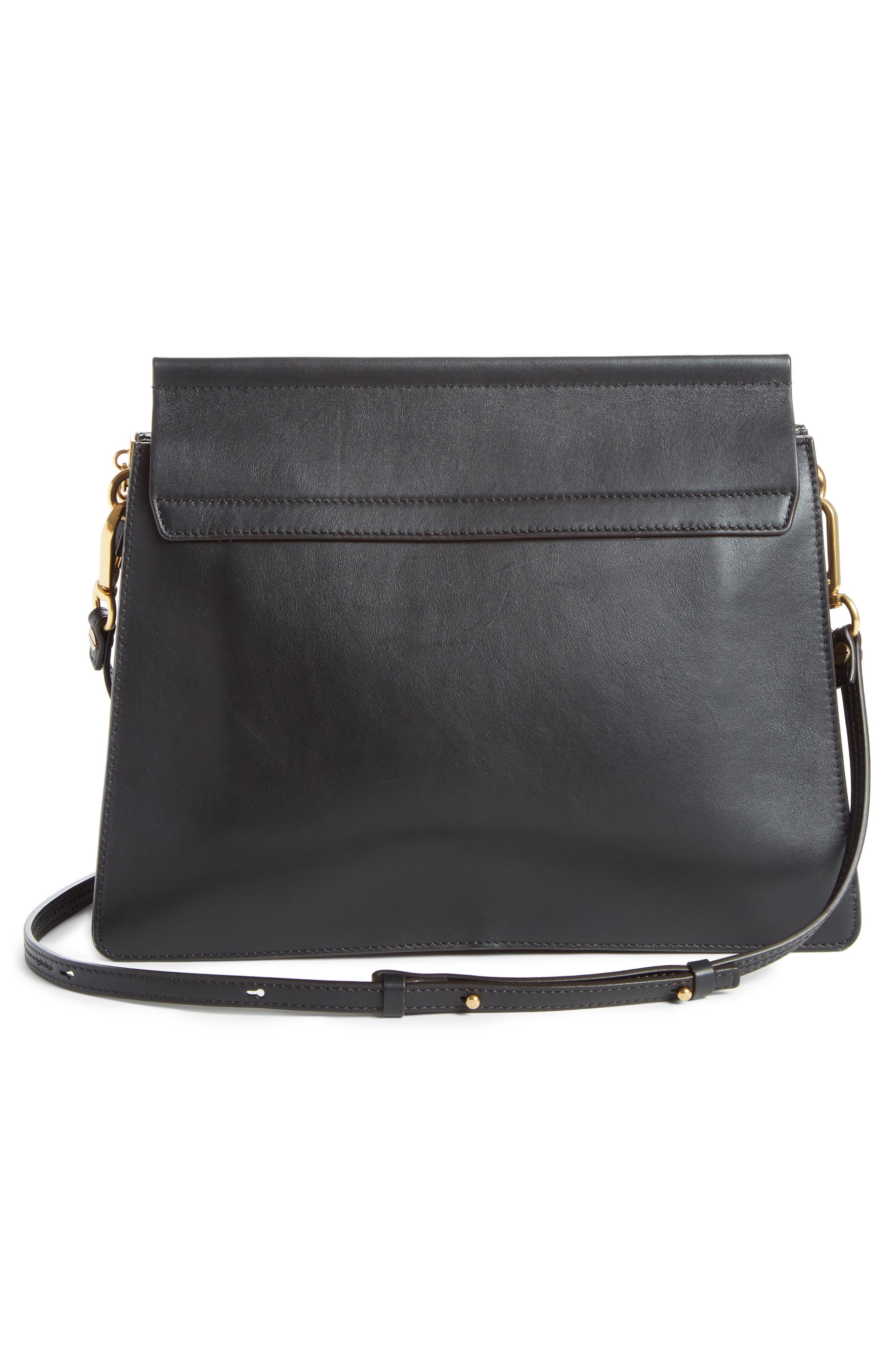 Faye Studded Suede & Leather Shoulder Bag,                             Alternate thumbnail 3, color,                             Black