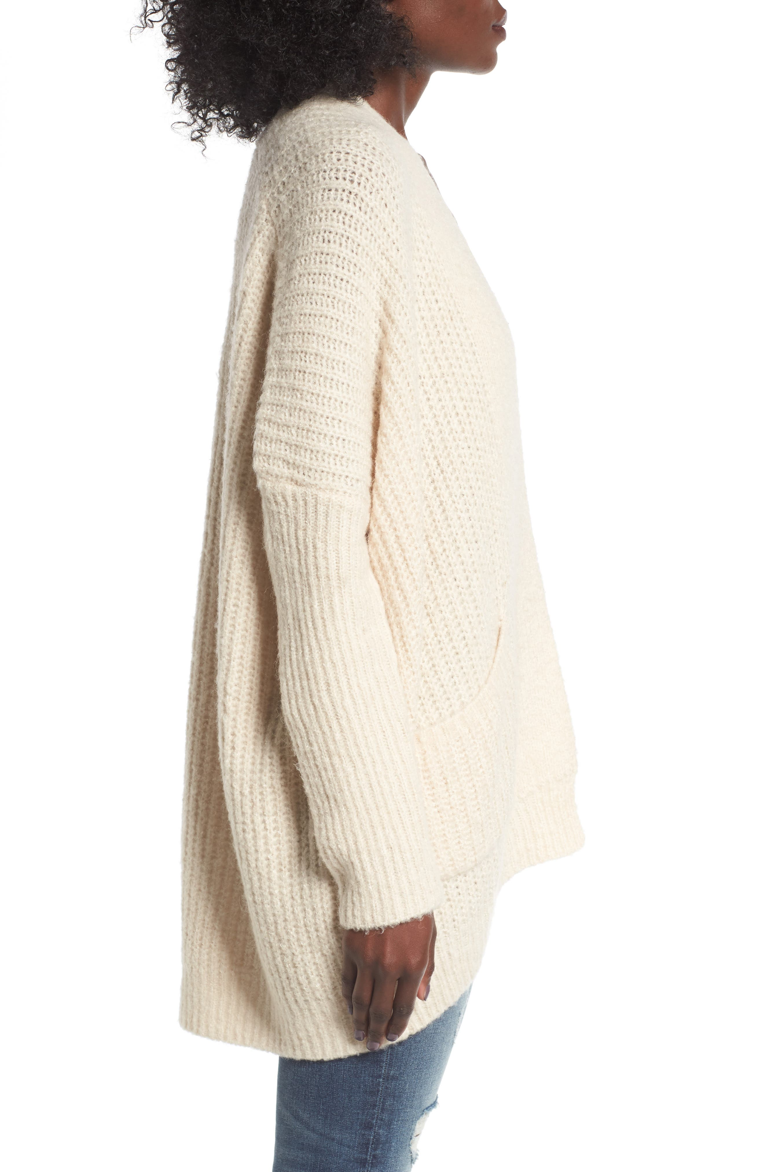 Alternate Image 3  - Dreamers by Debut Rib Knit Open Cardigan