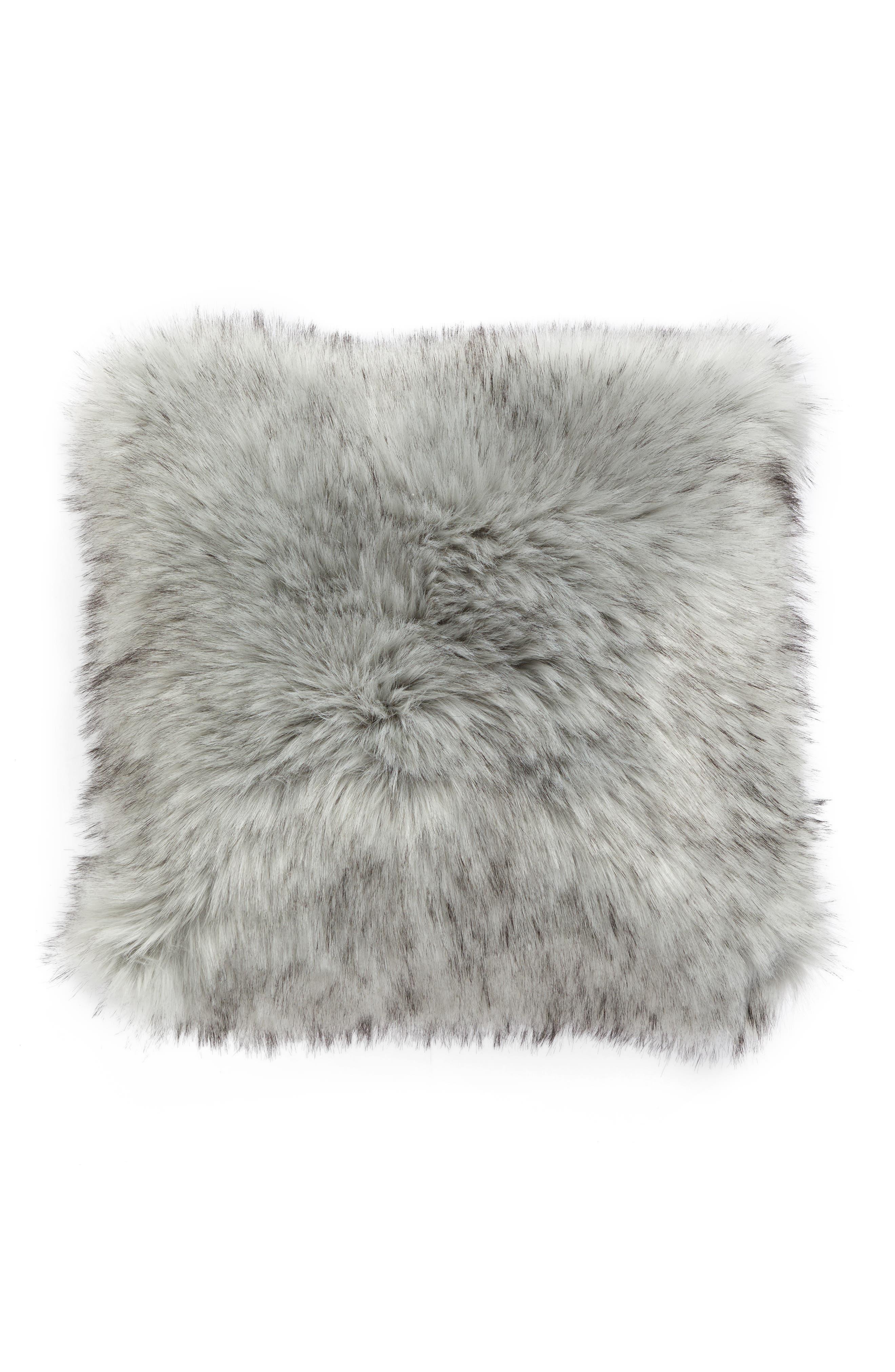 Faux Fur Accent Pillow,                         Main,                         color, Grey Fox