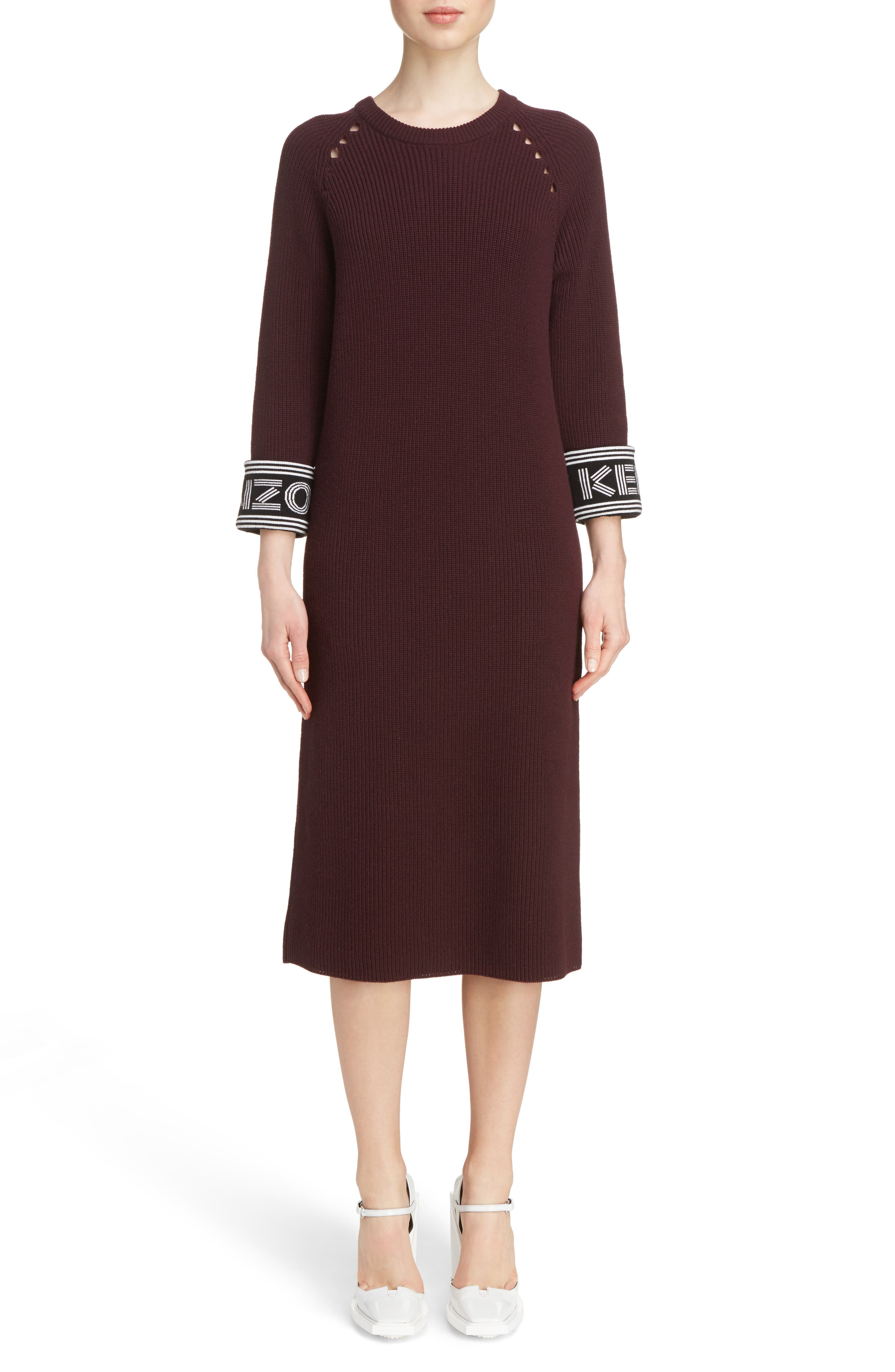 Sport Knit Midi Dress,                         Main,                         color, Chocolate