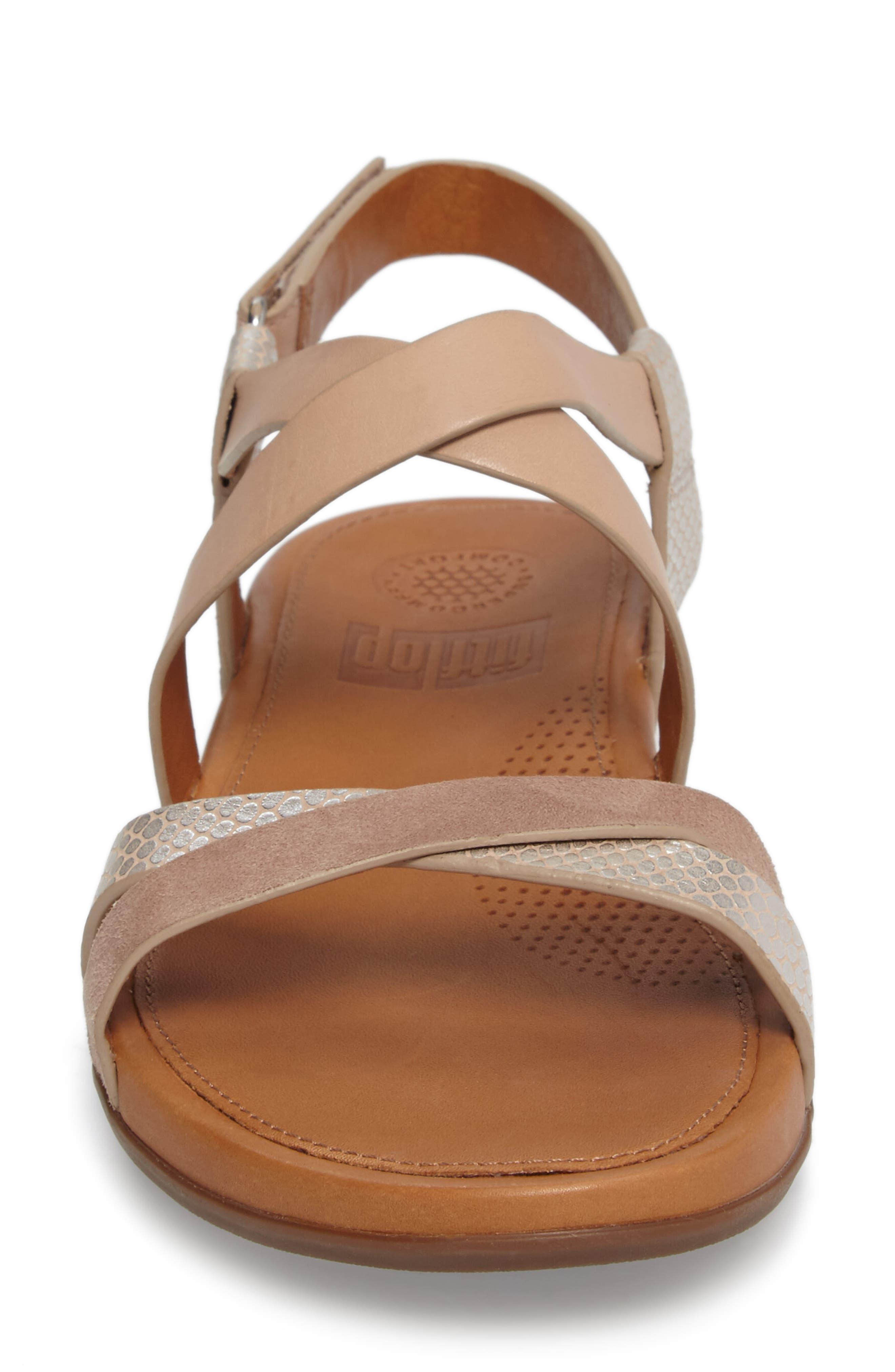 Lumy Crisscross Sandal,                             Alternate thumbnail 4, color,                             Peachy/ Silver Snake Suede