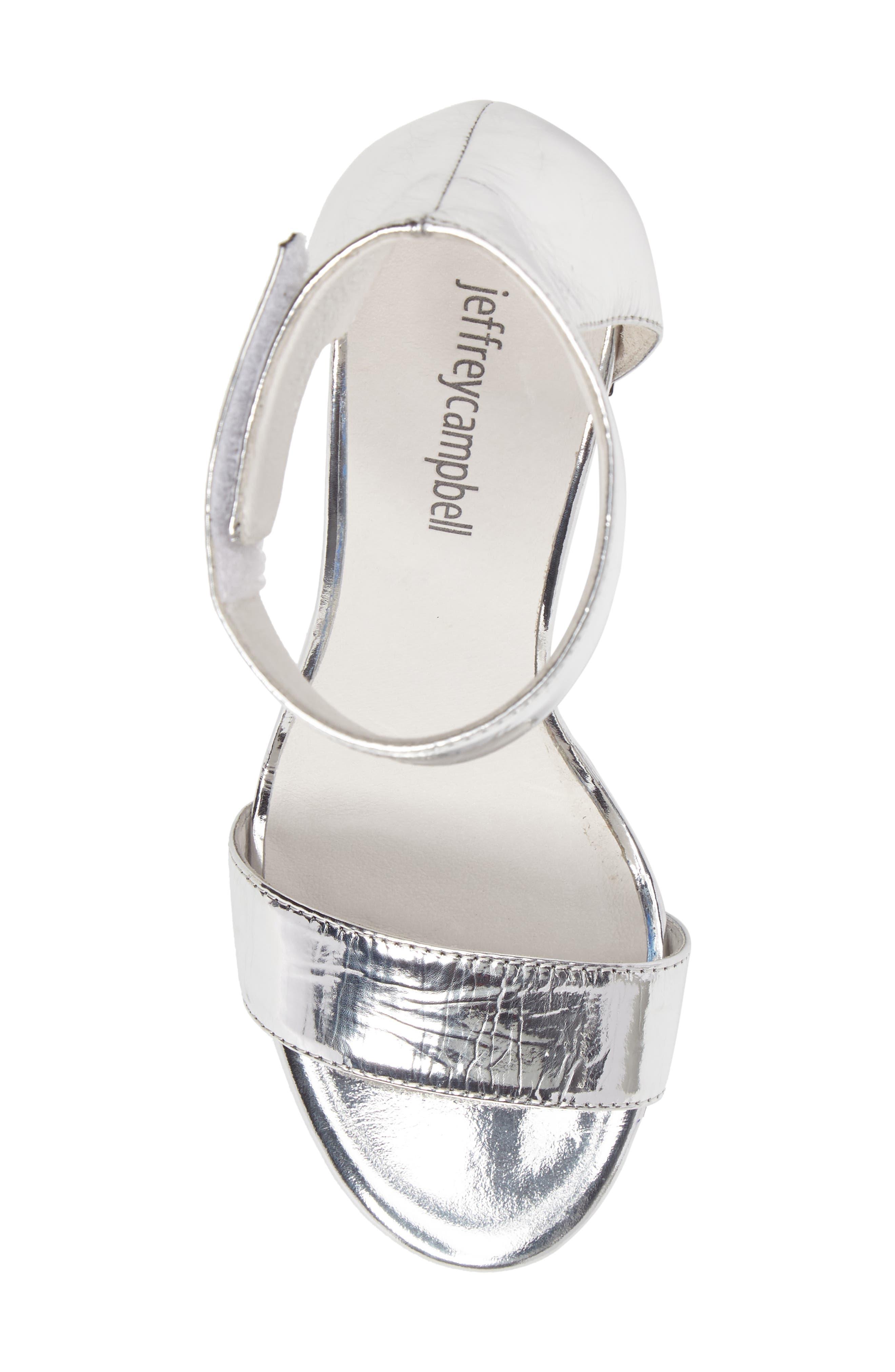 'Lindsay' Ankle Strap Sandal,                             Alternate thumbnail 6, color,                             Silver