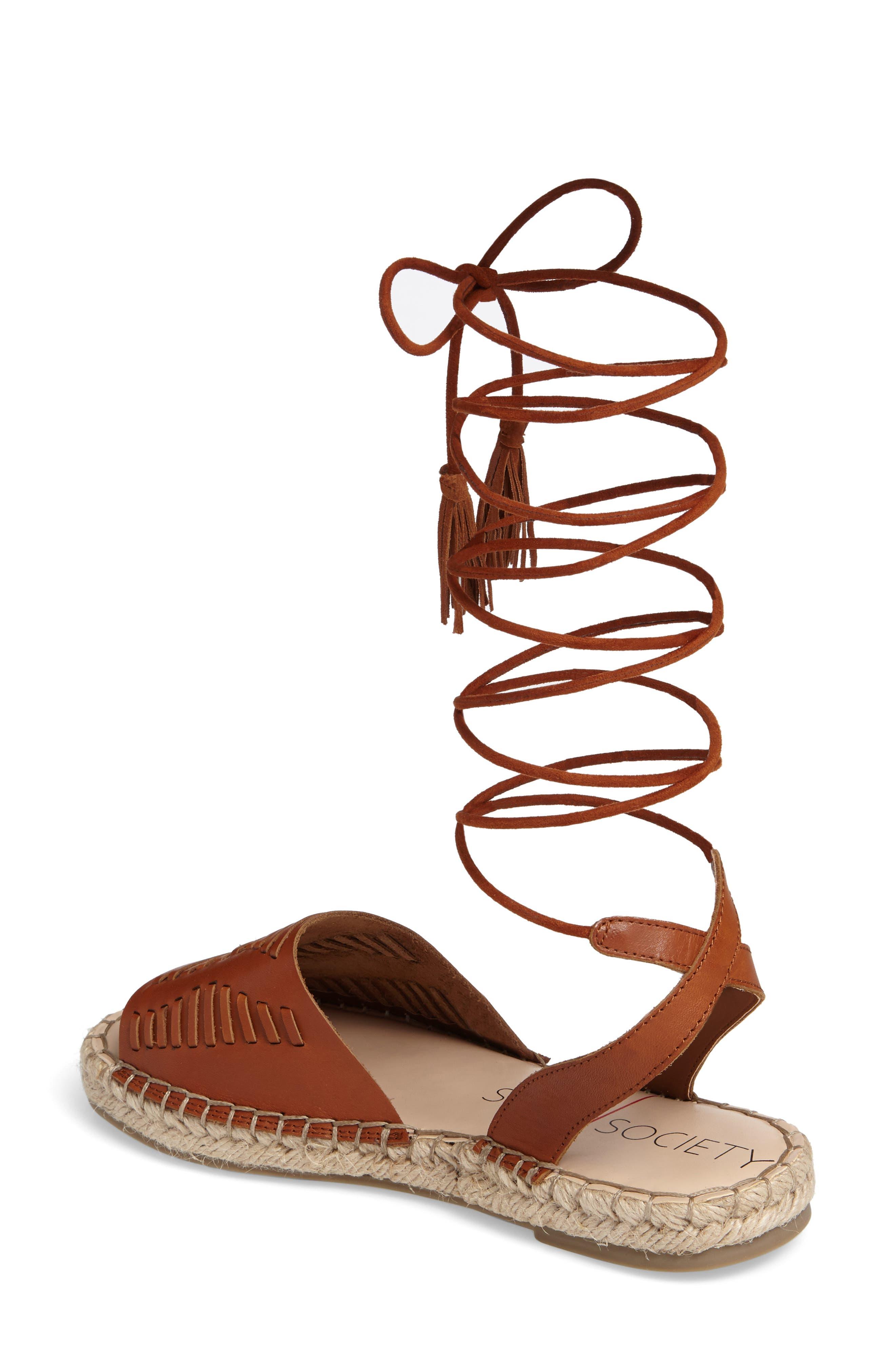 Clover Ankle Wrap Espadrille Sandal,                             Alternate thumbnail 2, color,                             Cognac Leather