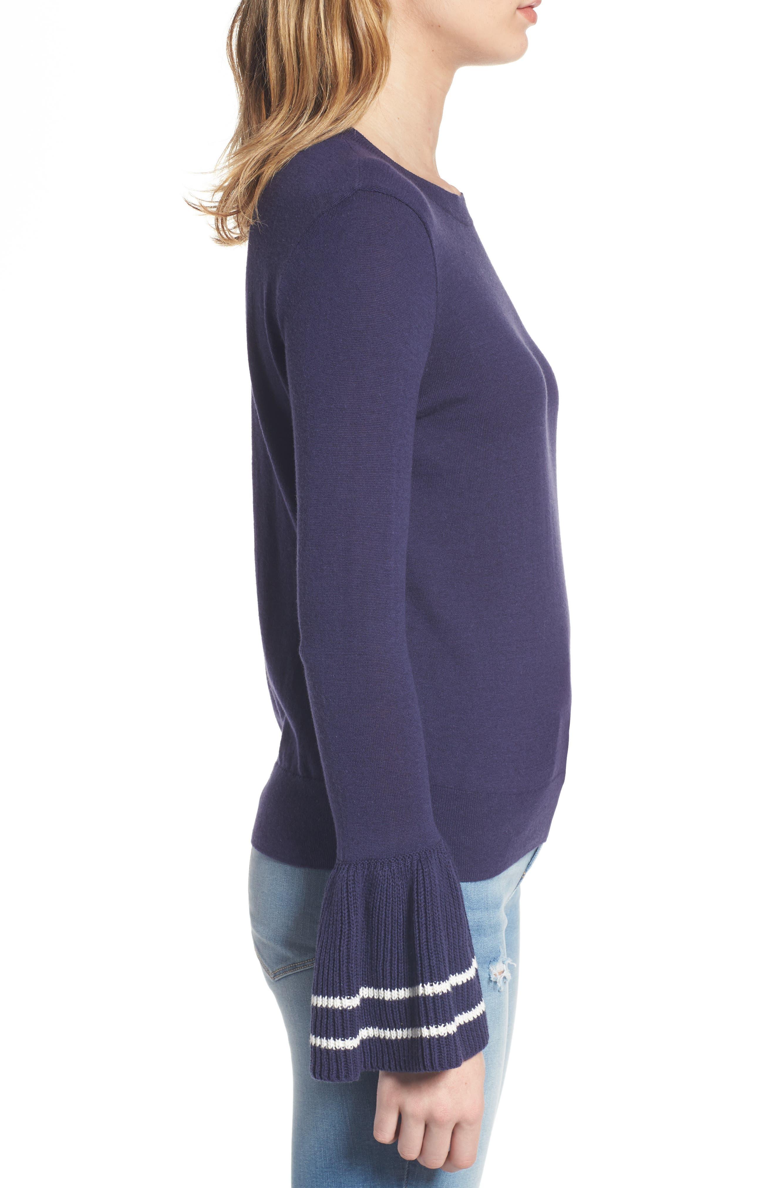Ruffle Bell Cuff Sweater,                             Alternate thumbnail 3, color,                             Navy Dusk