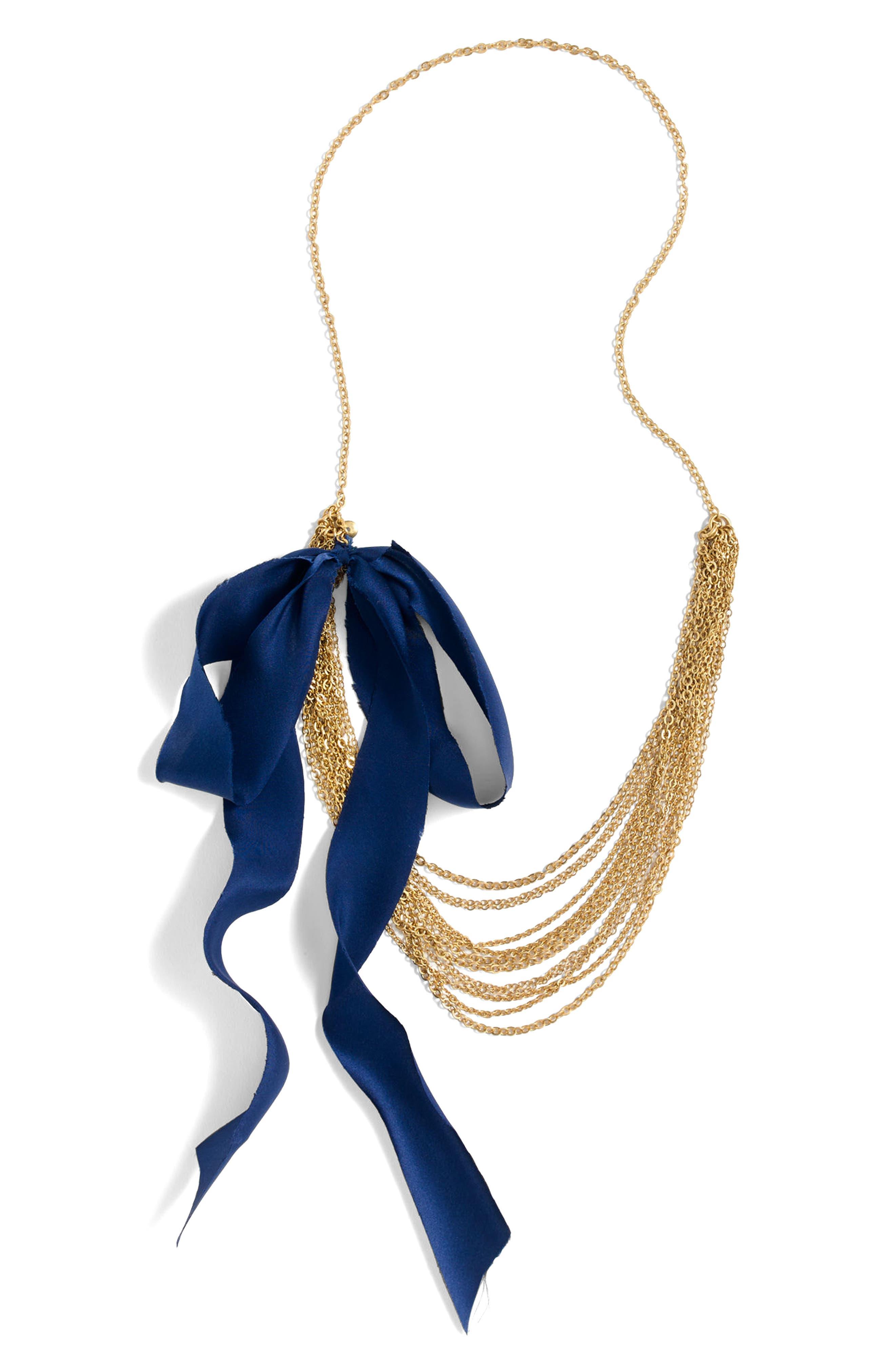 J.Crew Chain Link Silk Tie Necklace