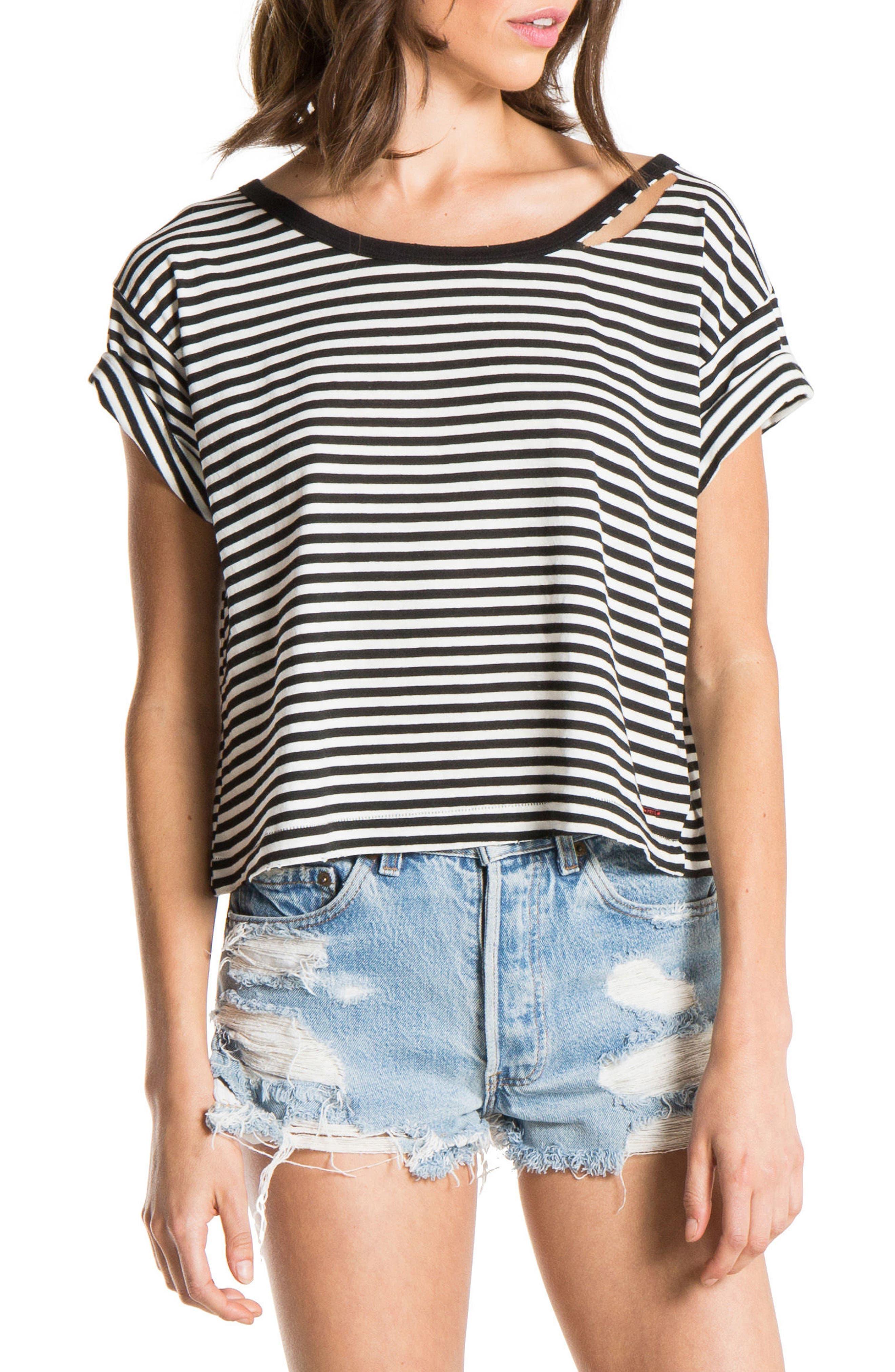 Codie Stripe Tee,                         Main,                         color, Black/ White