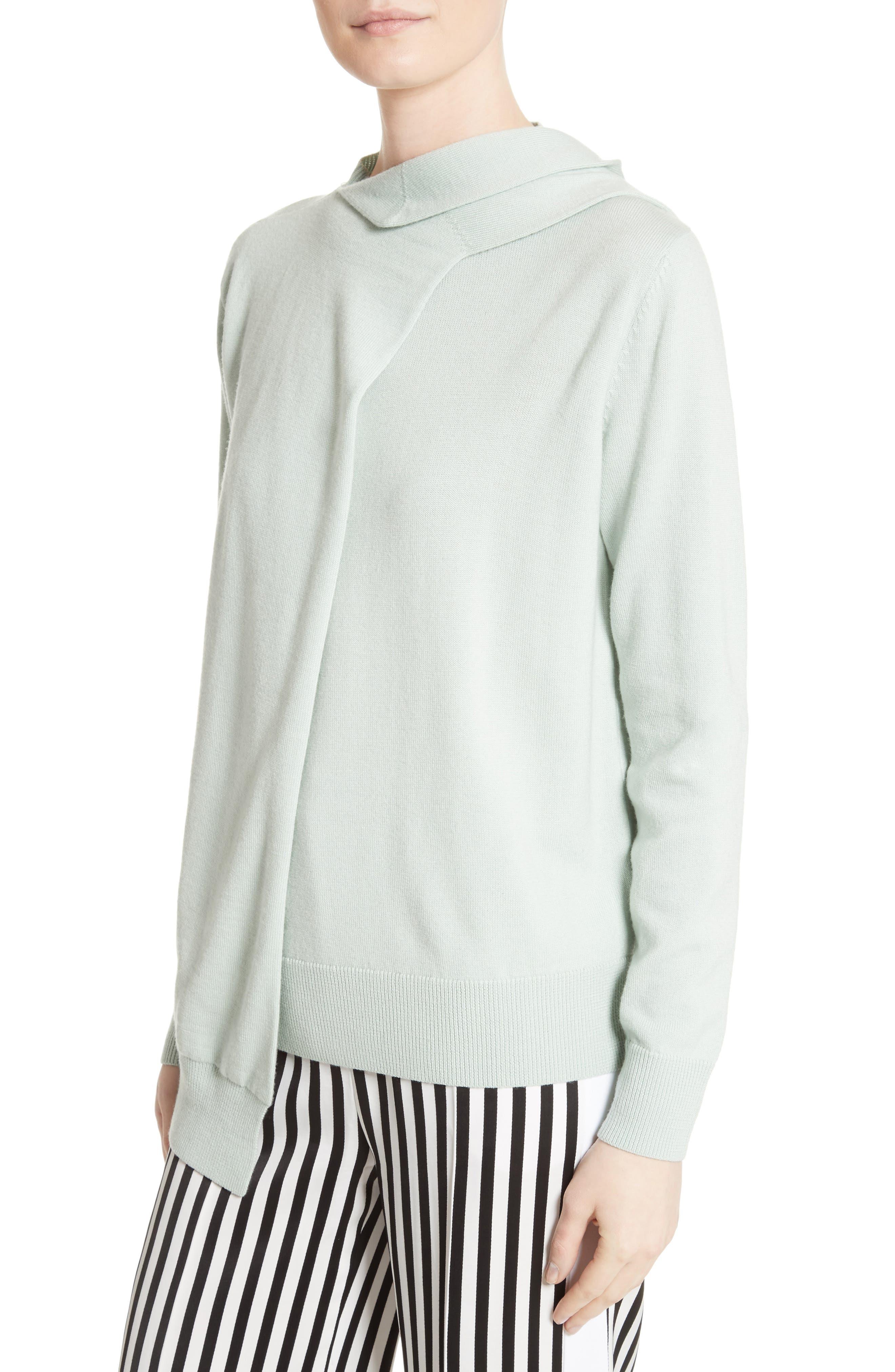 Wrap Neck Merino Wool Sweater,                             Main thumbnail 1, color,                             Mint