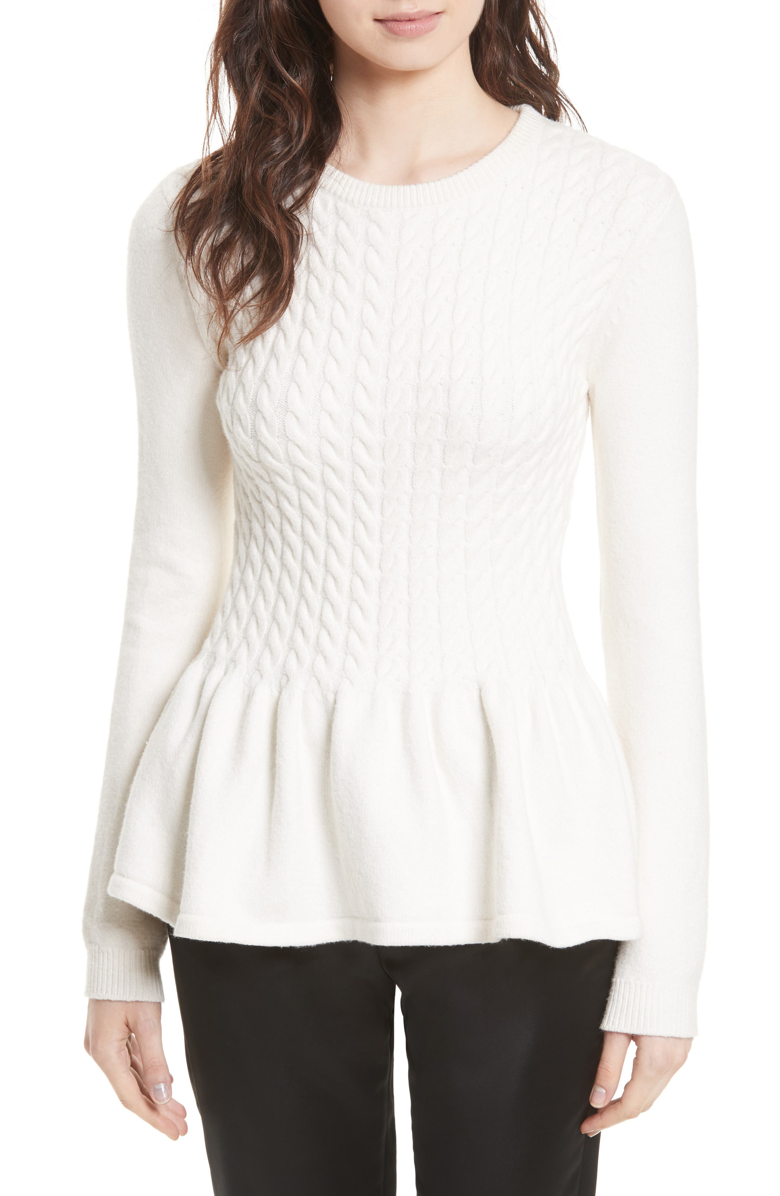 Alternate Image 1 Selected - Ted Baker London Mereda Cable Knit Peplum Sweater
