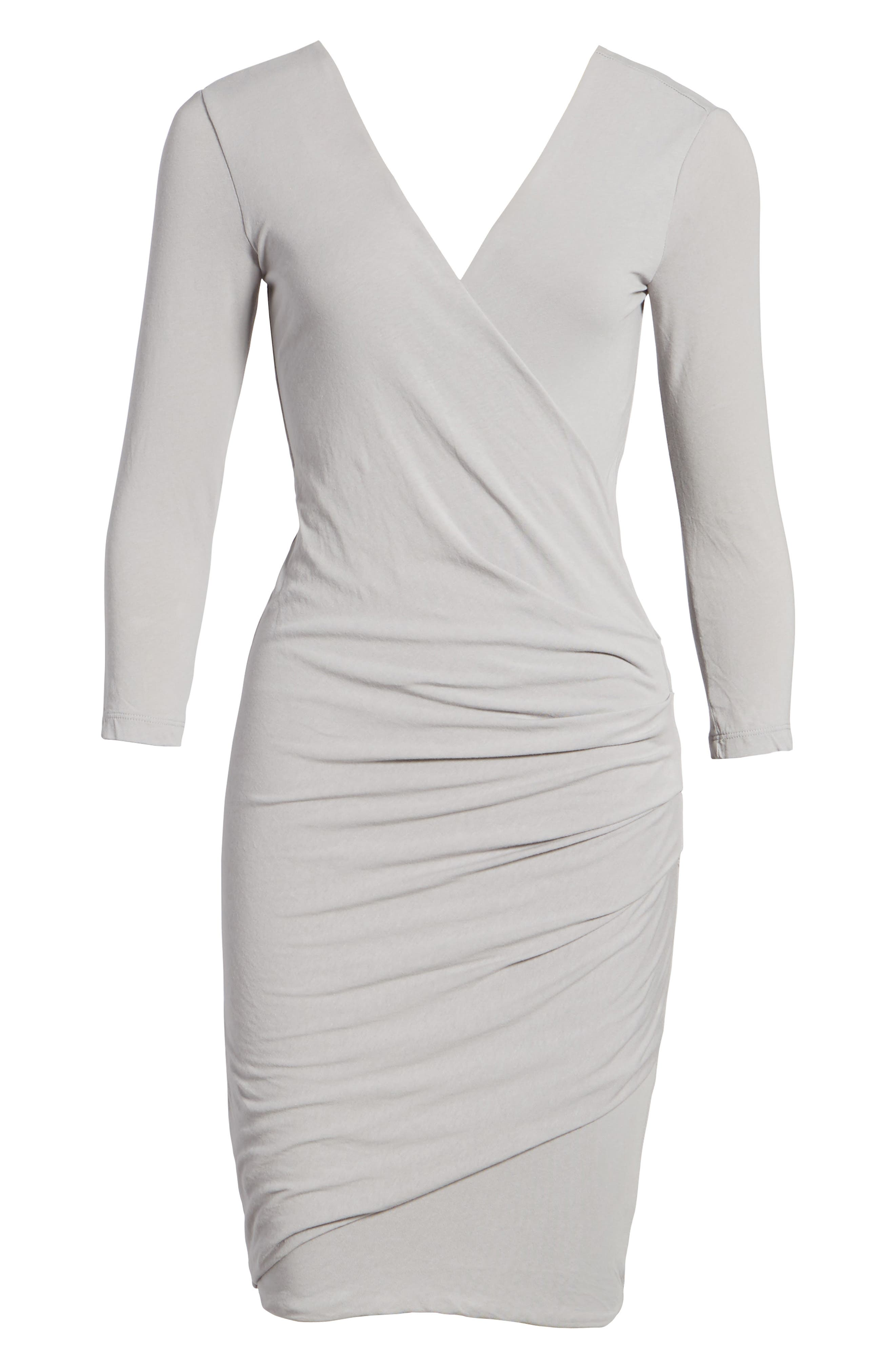 Alternate Image 6  - James Perse Tucked Faux Wrap Dress