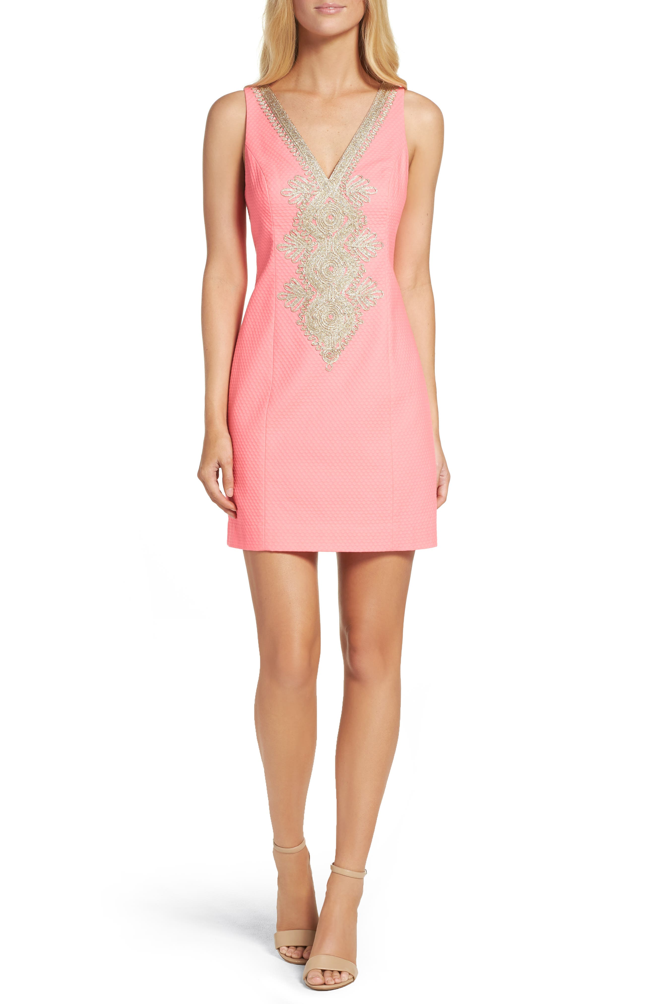 Junie Shift Dress,                         Main,                         color, Coral Reef
