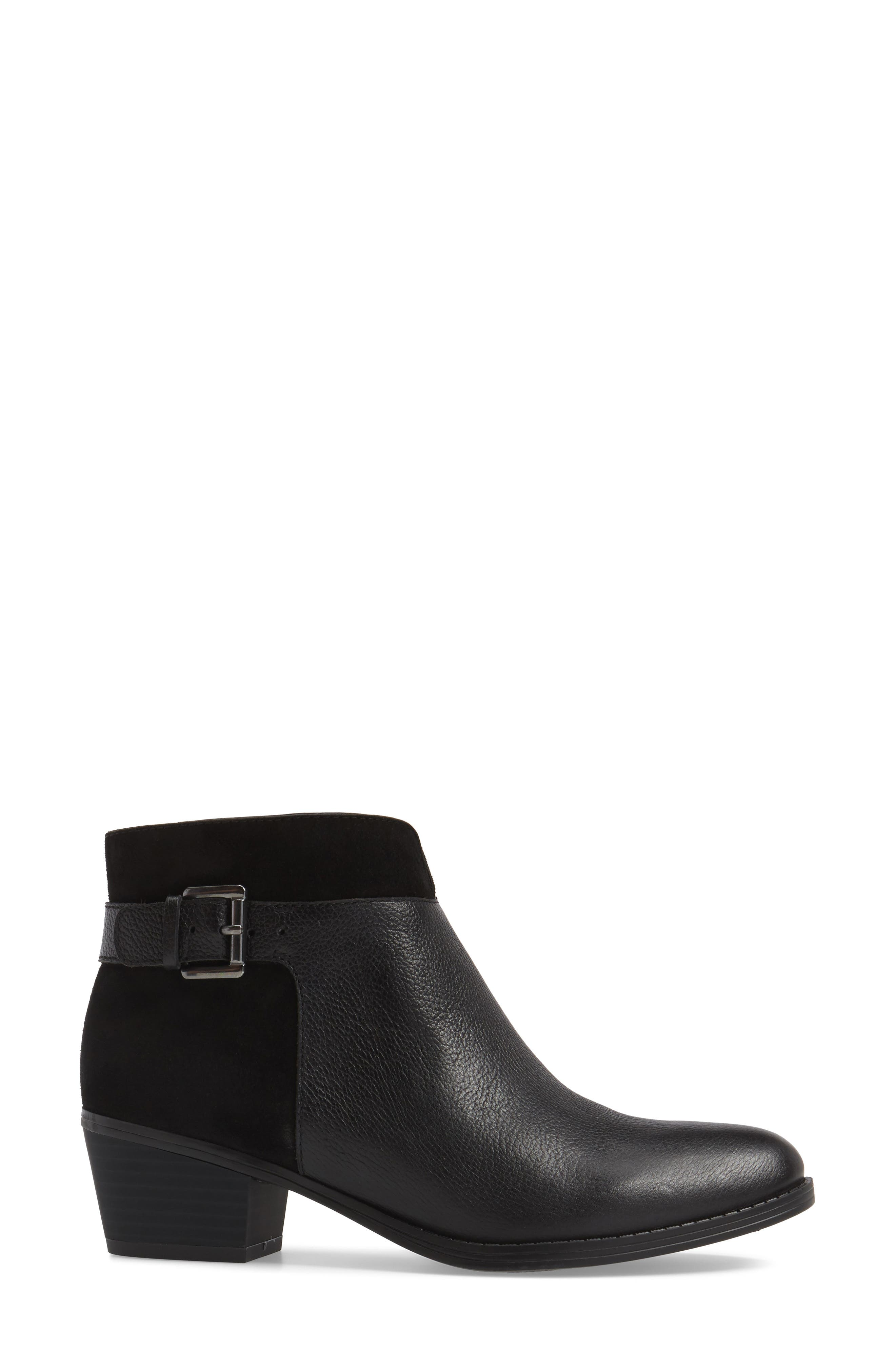 Wanya Buckle Bootie,                             Alternate thumbnail 3, color,                             Black Leather