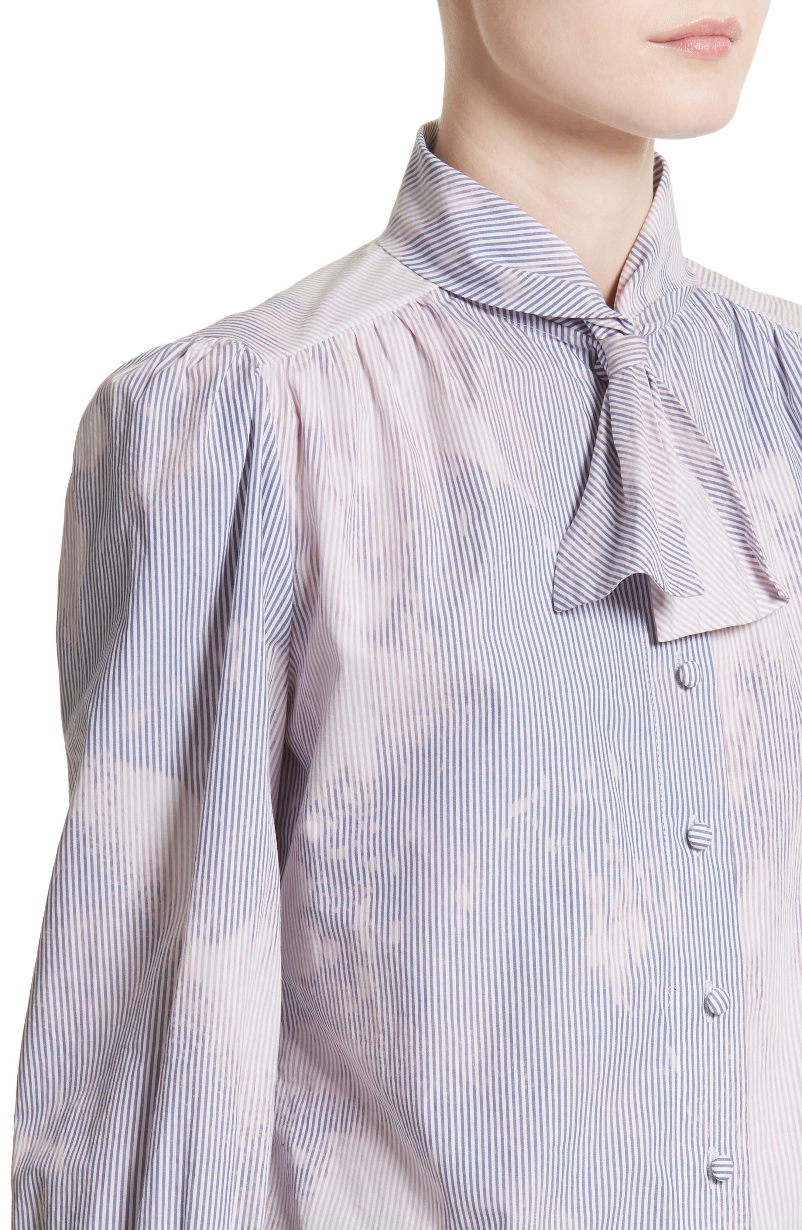Hand Tie Dye Boy Scout Blouse,                             Alternate thumbnail 4, color,                             Navy Stripe